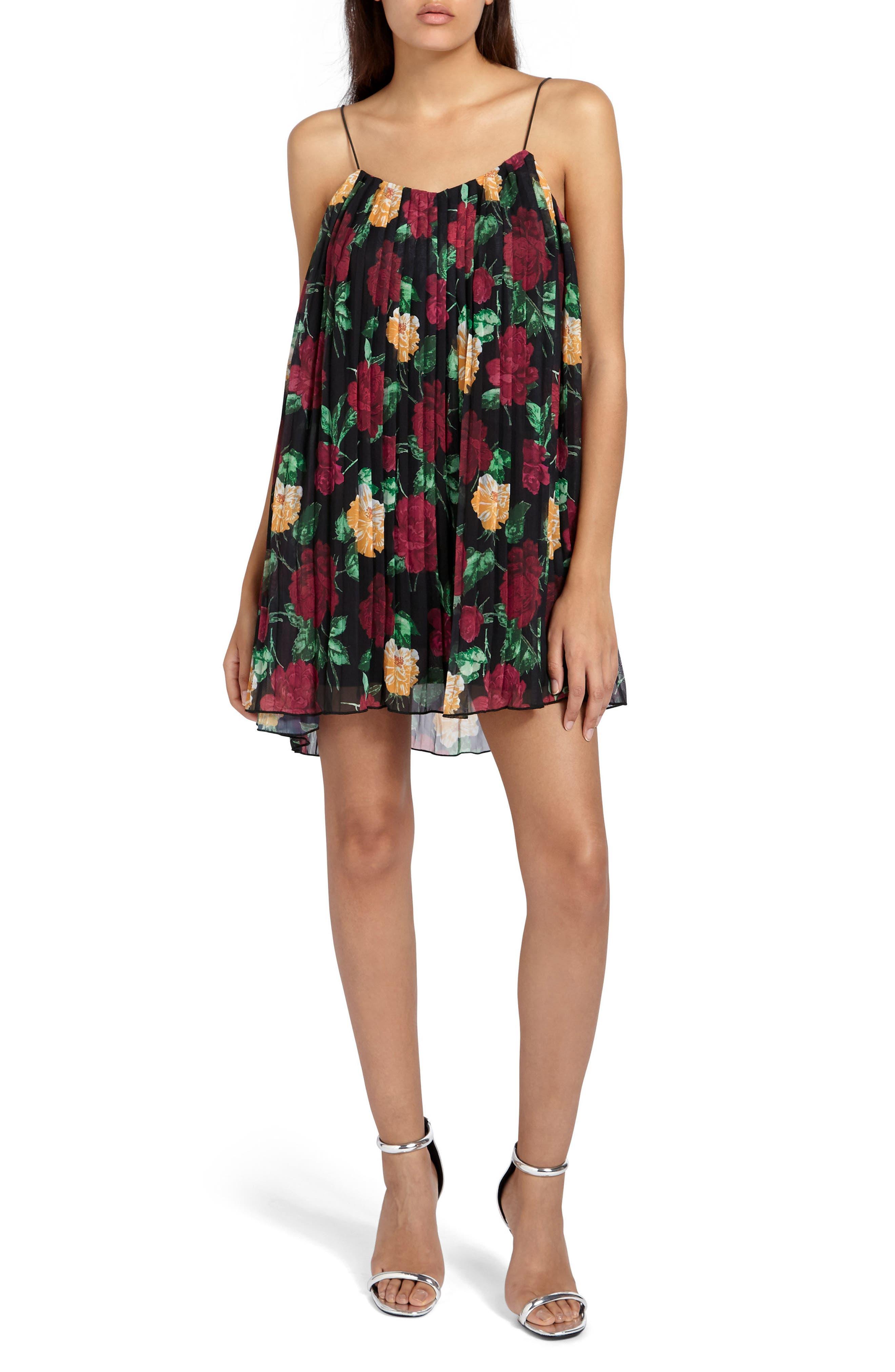 Pleated Crepe Minidress,                         Main,                         color,