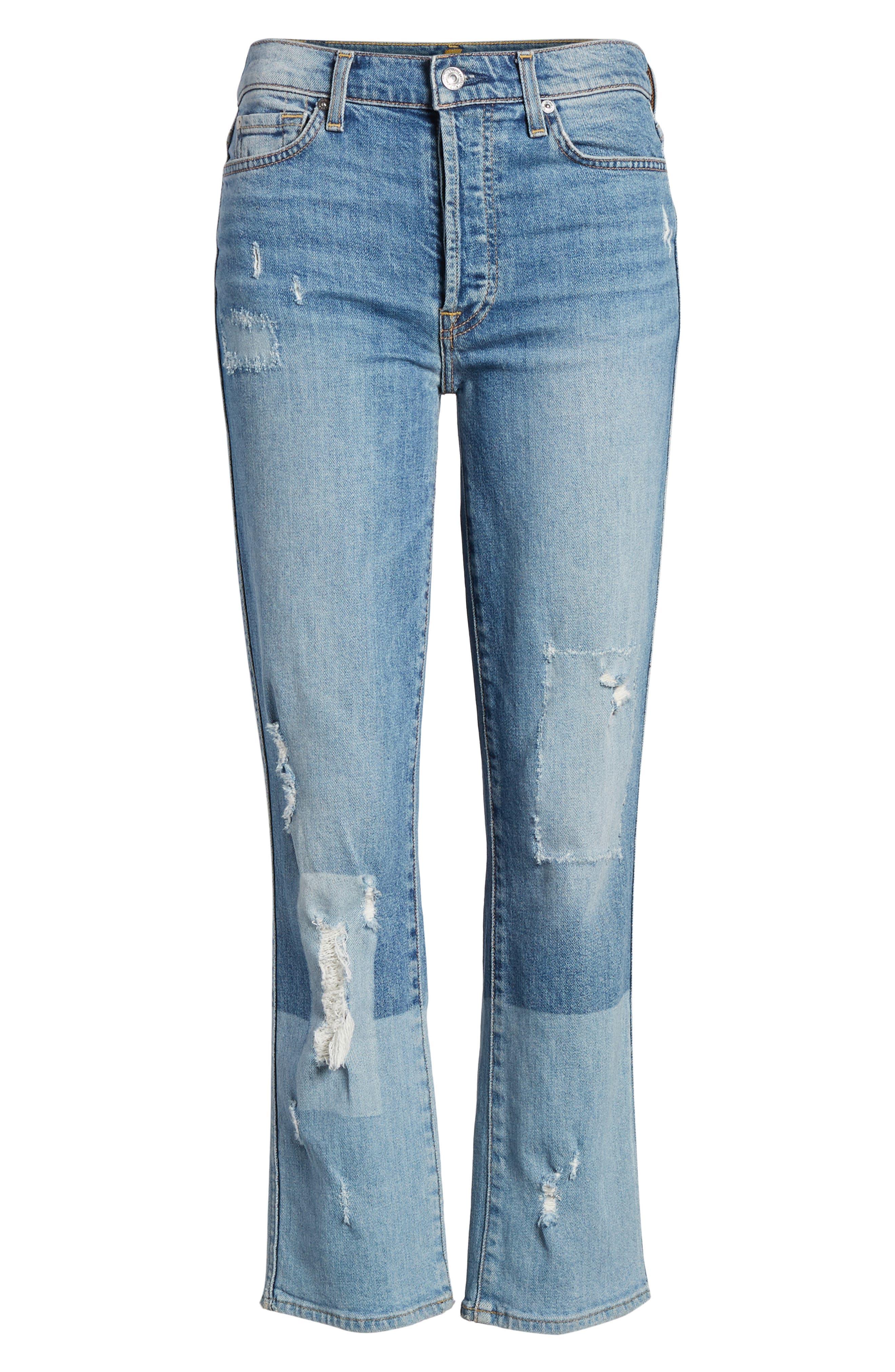 Edie High Waist Crop Straight Leg Jeans,                             Alternate thumbnail 25, color,