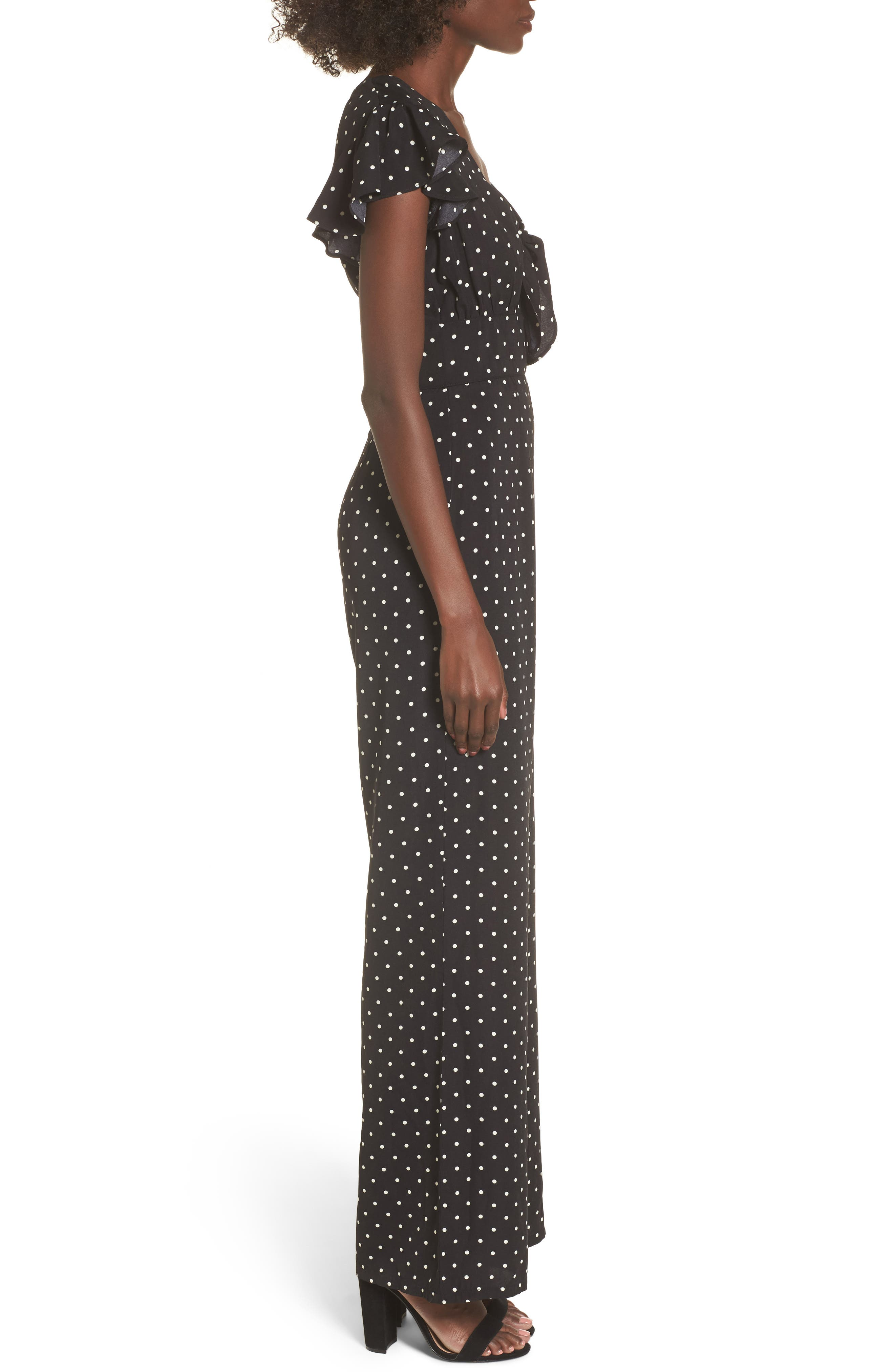 Tie Front Wide Leg Jumpsuit,                             Alternate thumbnail 5, color,