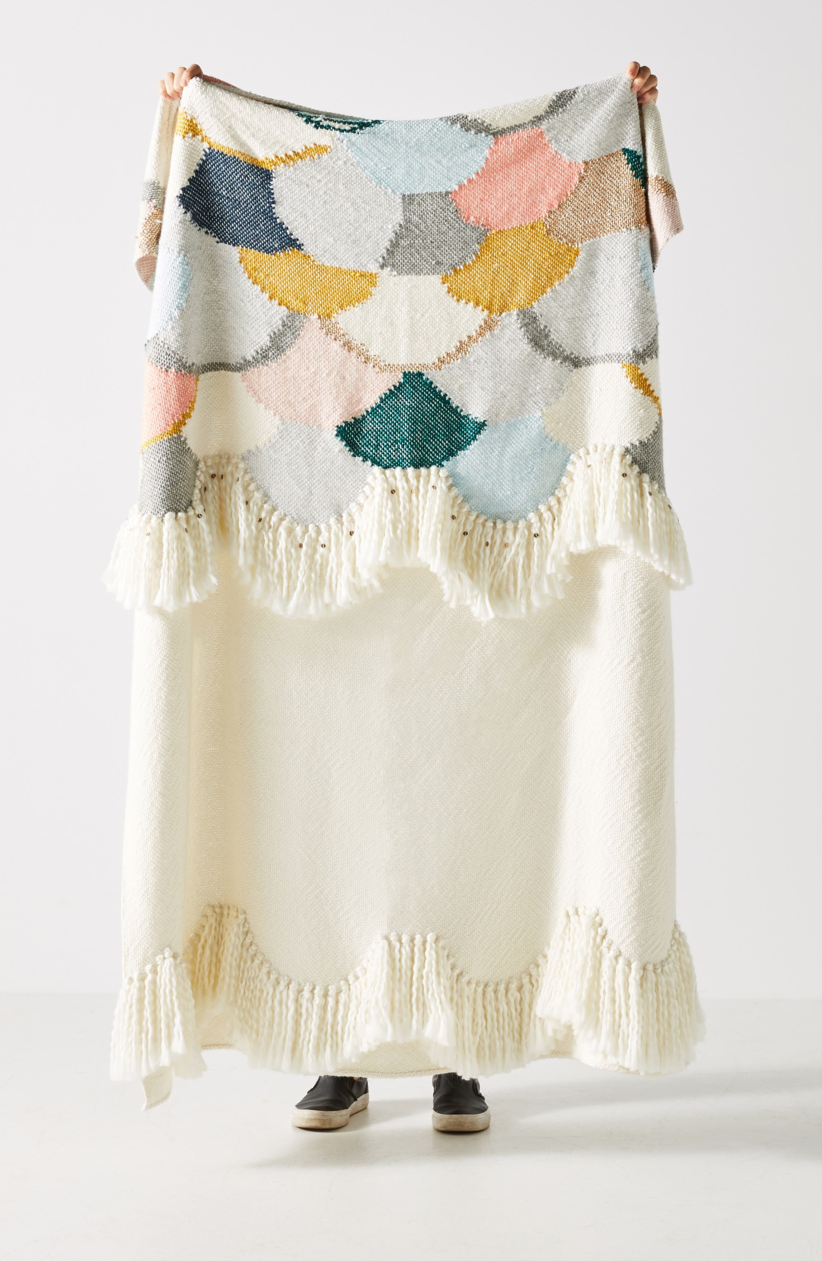 Lindsay Campbell Throw Blanket,                         Main,                         color, IVORY