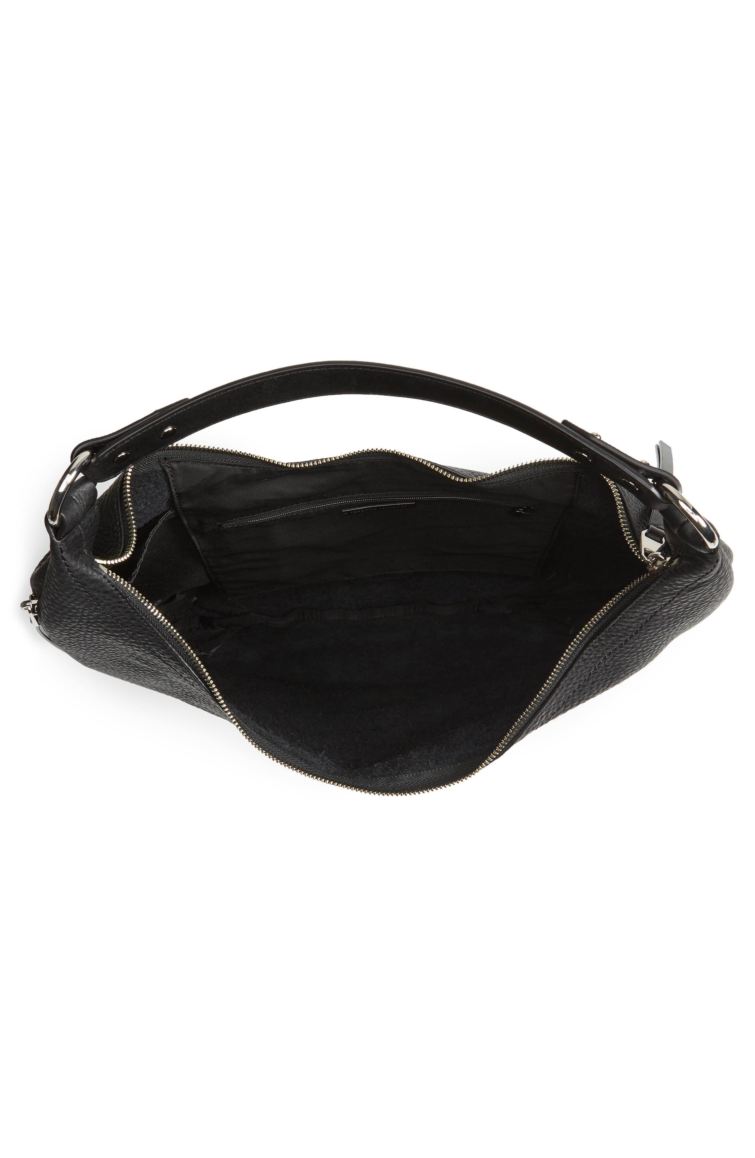 Michelle Leather Hobo,                             Alternate thumbnail 4, color,                             JET BLACK