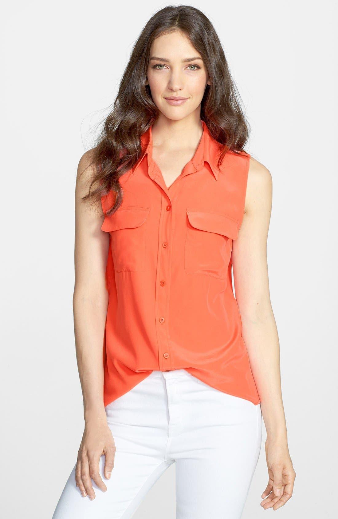 'Slim Signature' Sleeveless Silk Shirt,                             Main thumbnail 48, color,
