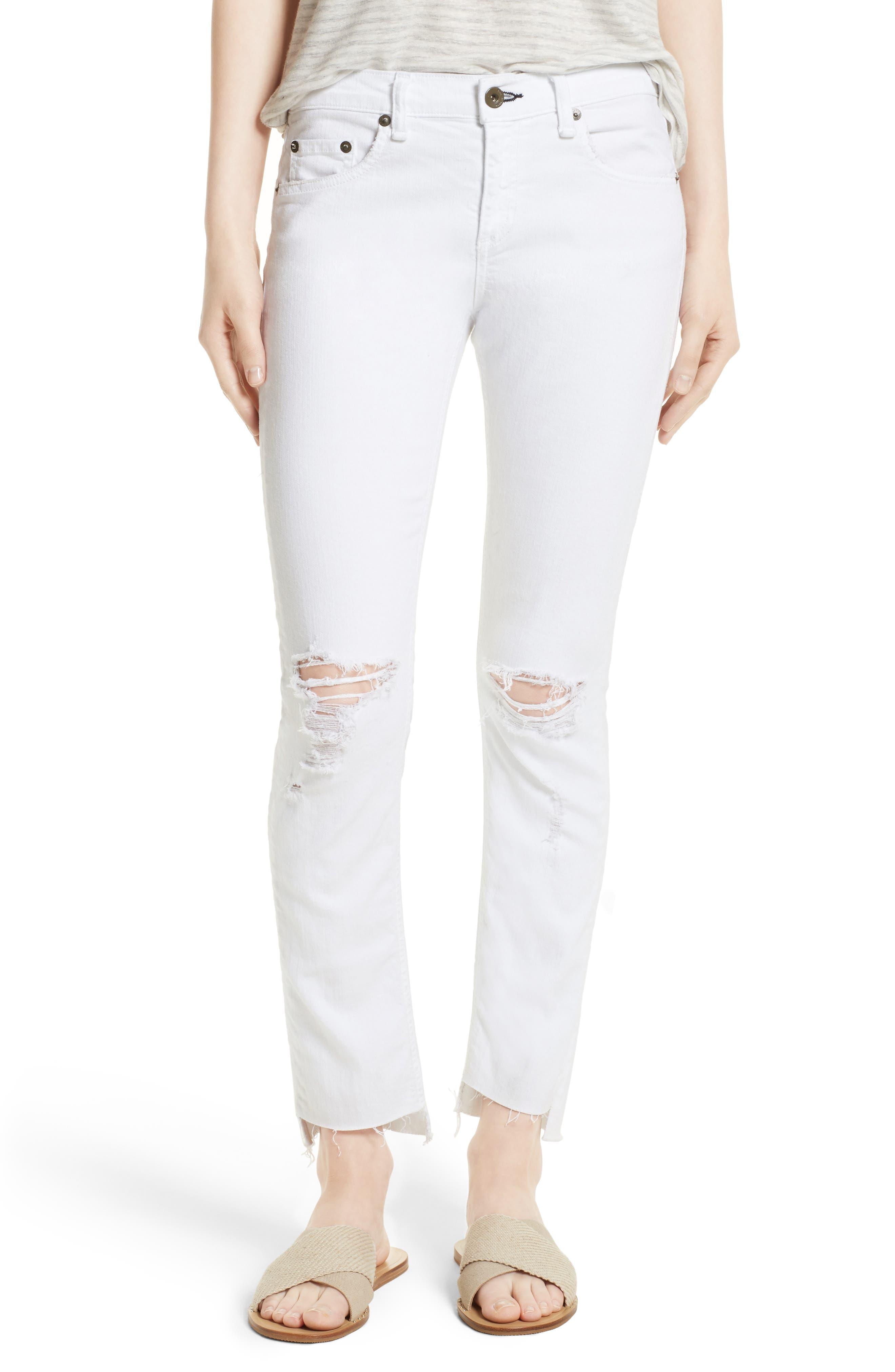 High Waist Step Hem Slim Boyfriend Jeans,                         Main,                         color, 108