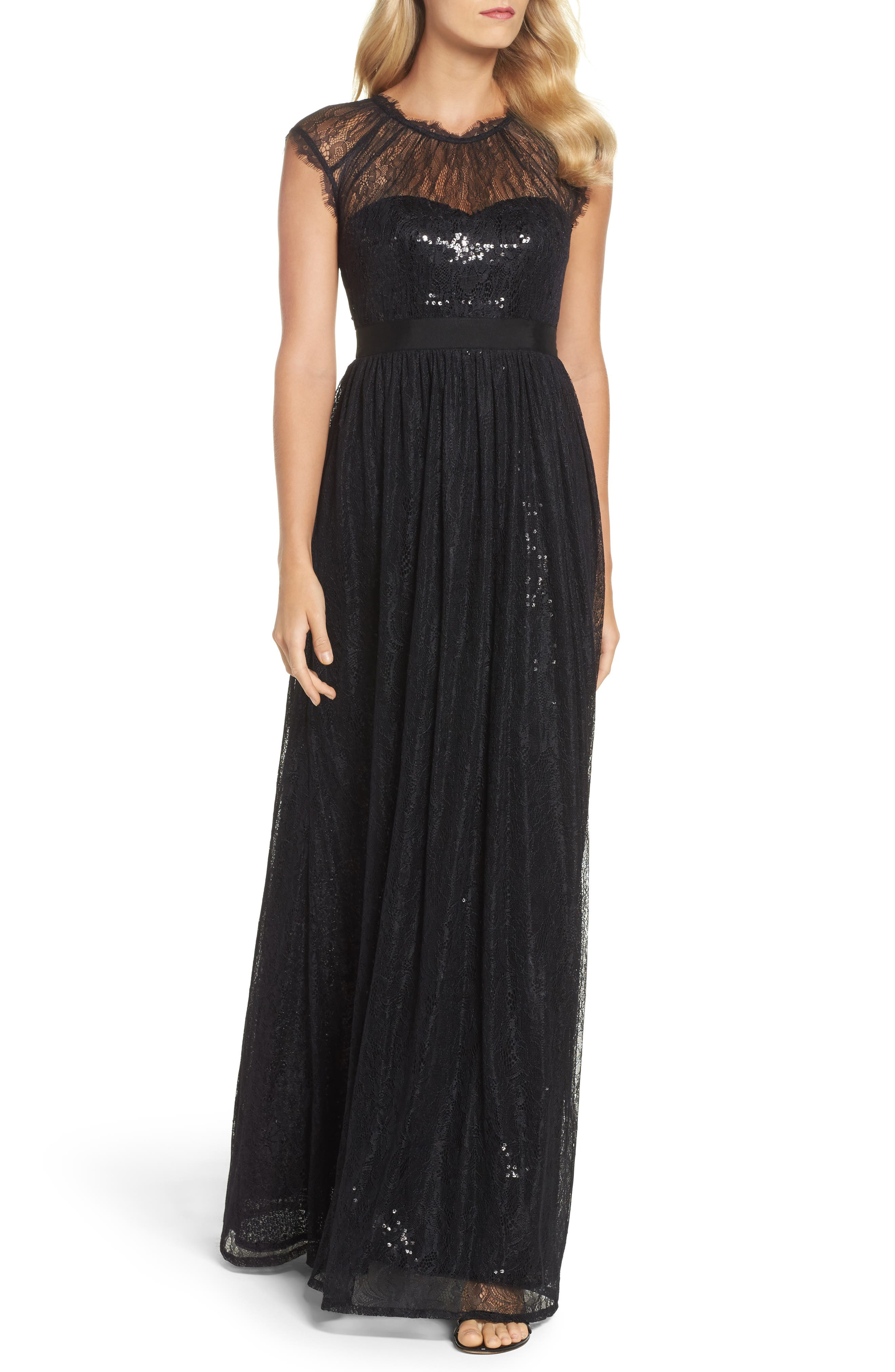 Sequin Chantilly Lace Gown,                             Main thumbnail 1, color,                             002