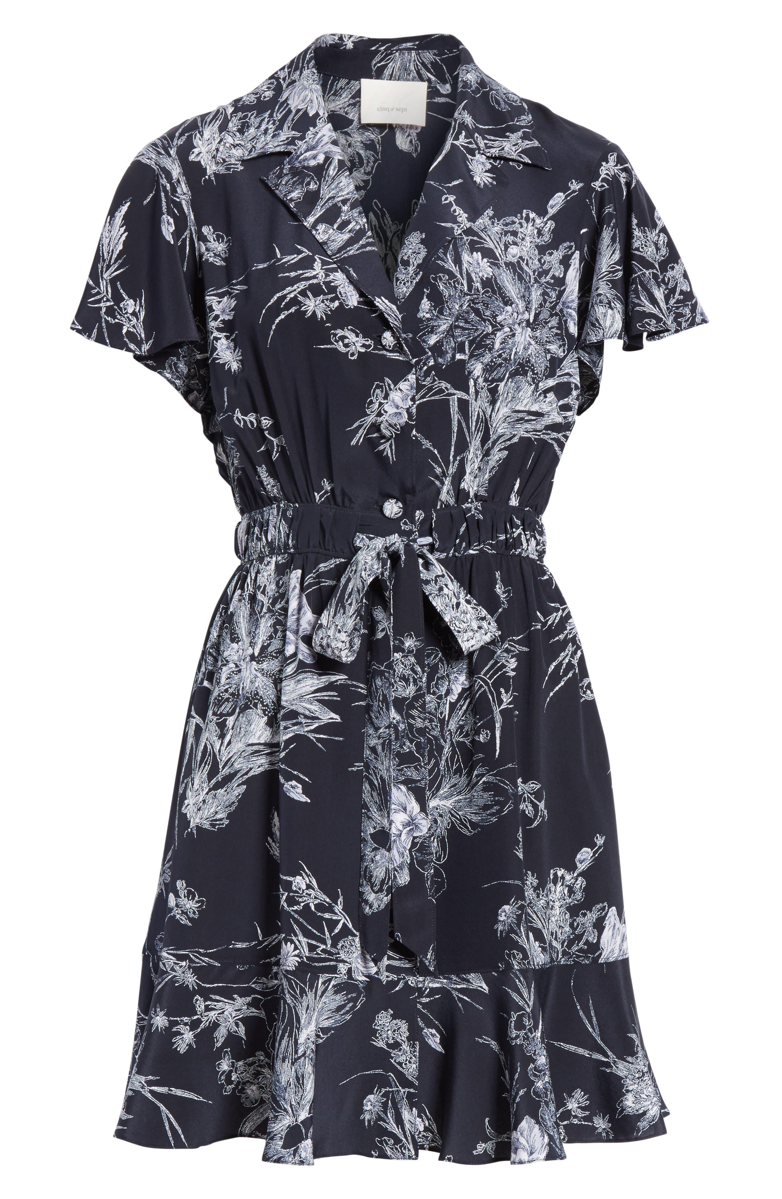 Quincy Flutter Trim Silk Dress,                             Alternate thumbnail 6, color,                             418