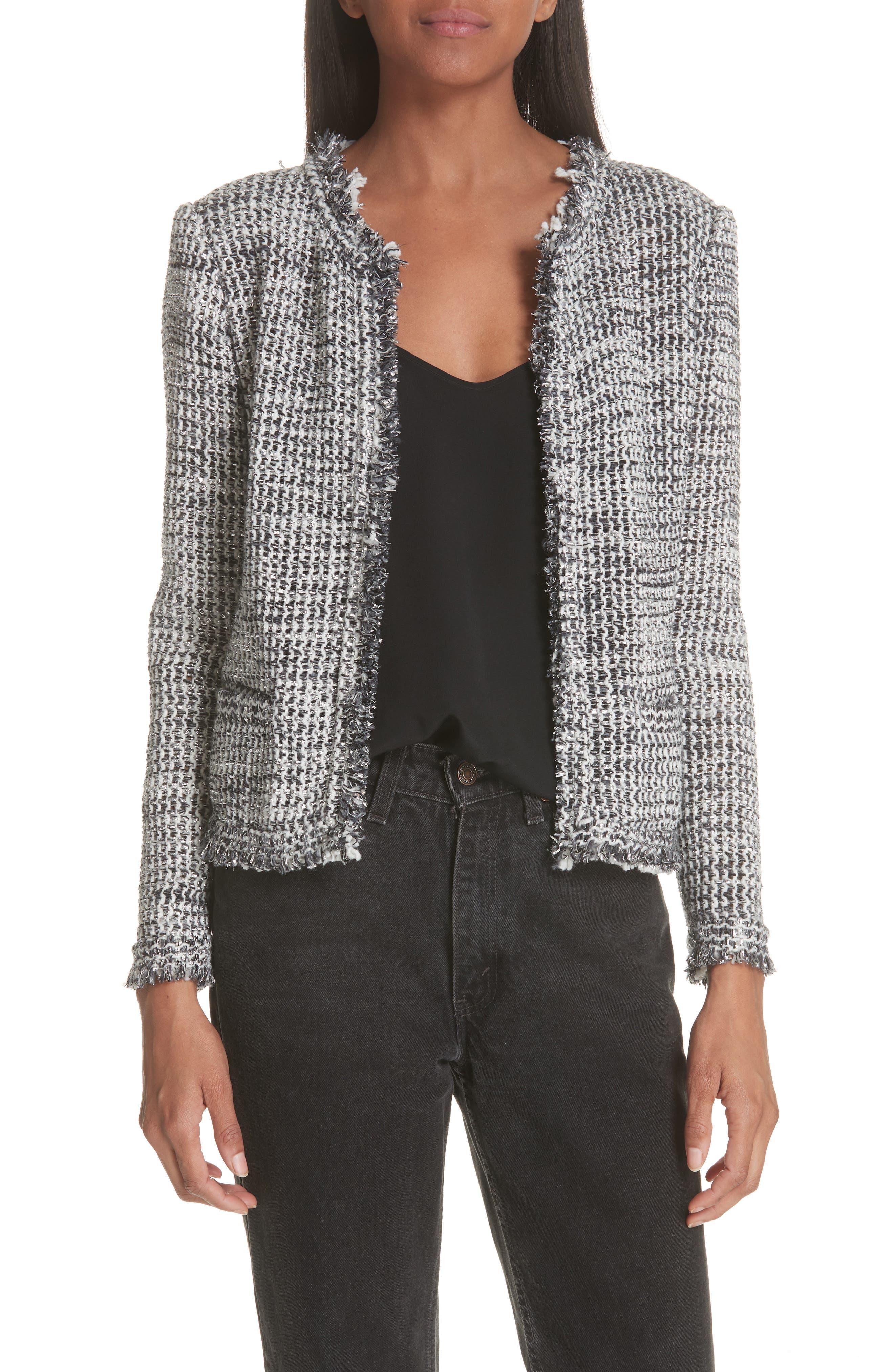 Unplug Metallic Tweed Jacket,                             Main thumbnail 1, color,                             GREY