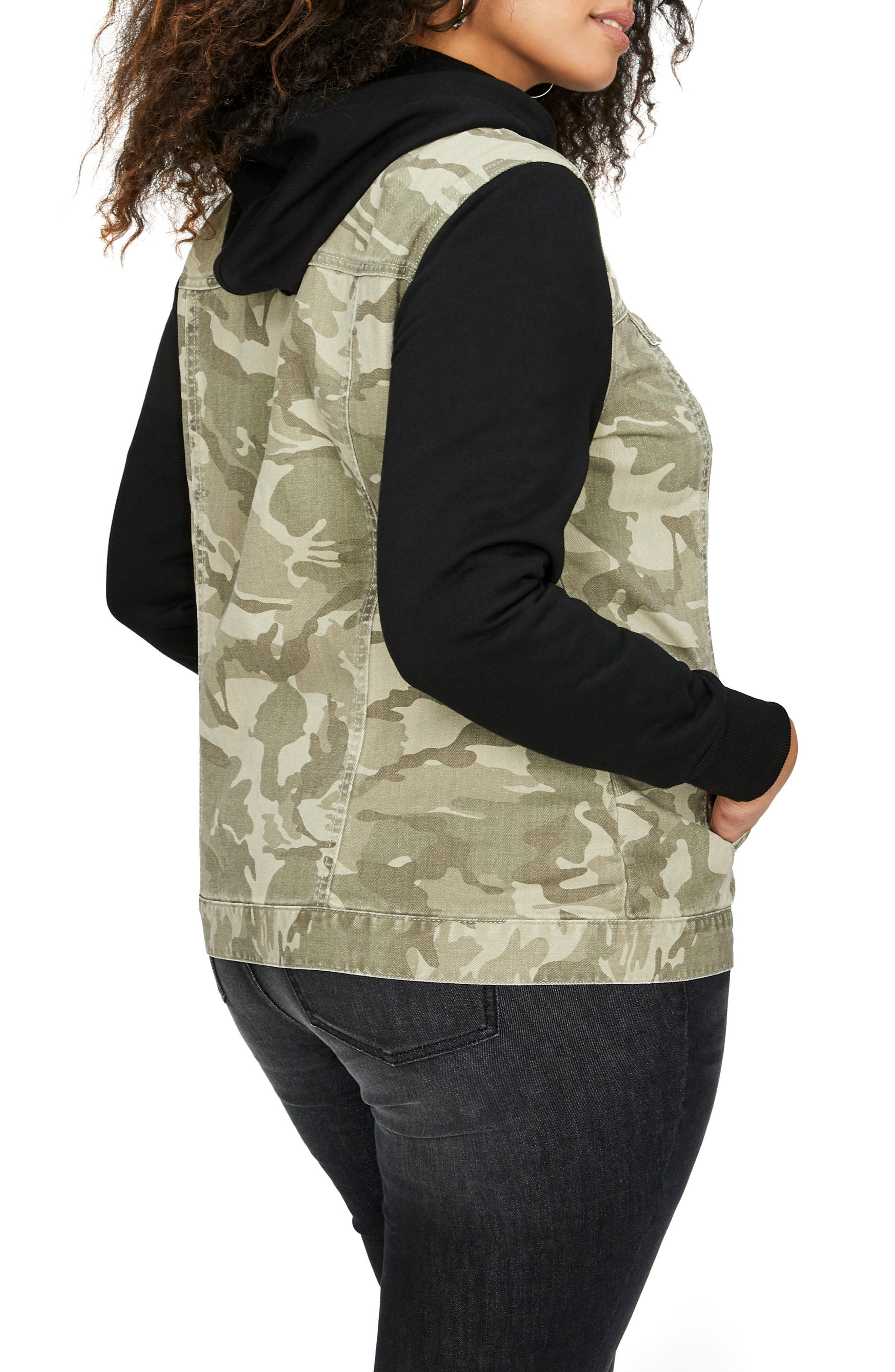 Hooded Camo Jacket with Knit Sleeves,                             Alternate thumbnail 2, color,                             358