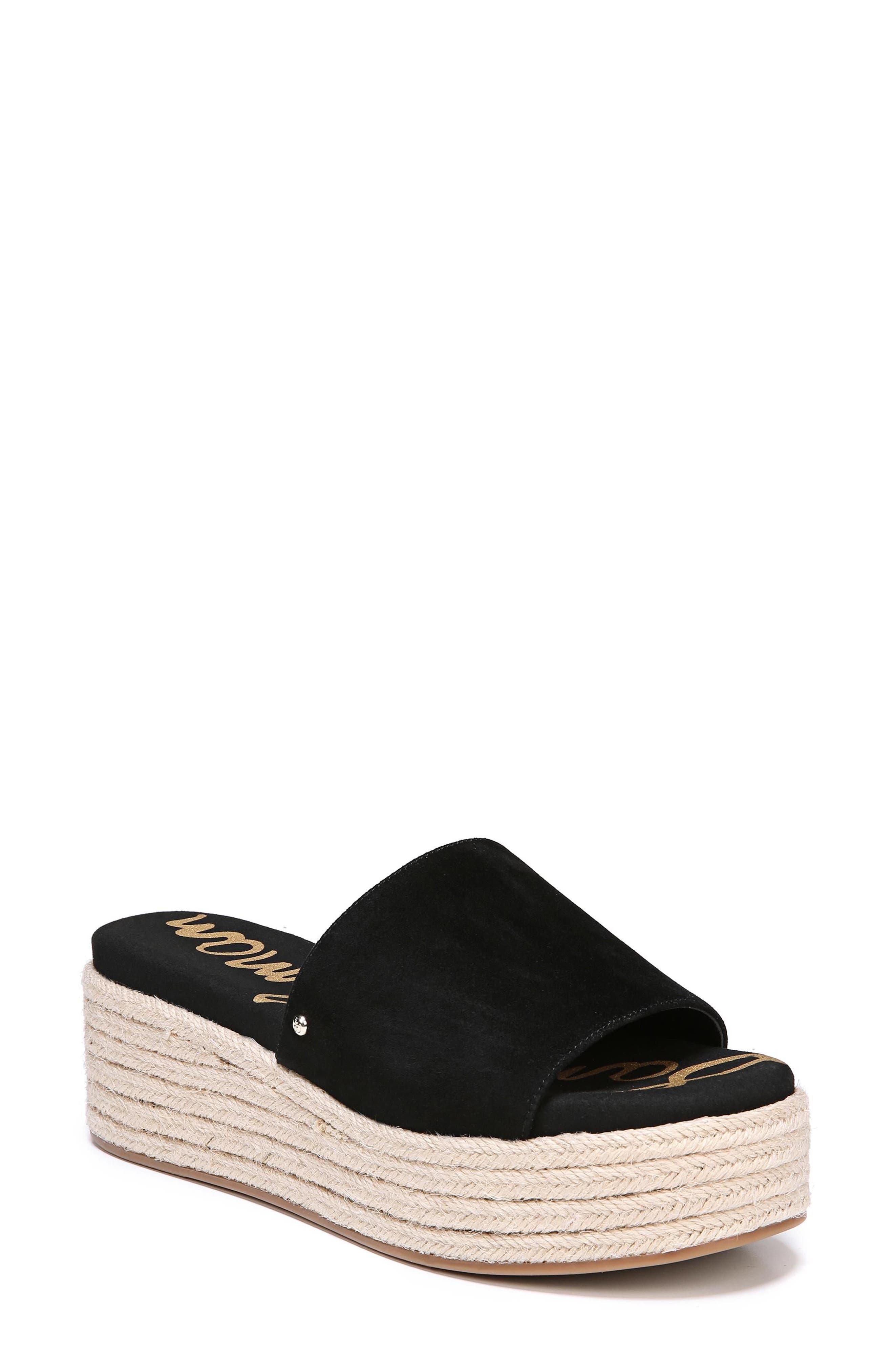 Weslee Platform Slide Sandal,                             Main thumbnail 1, color,                             BLACK SUEDE