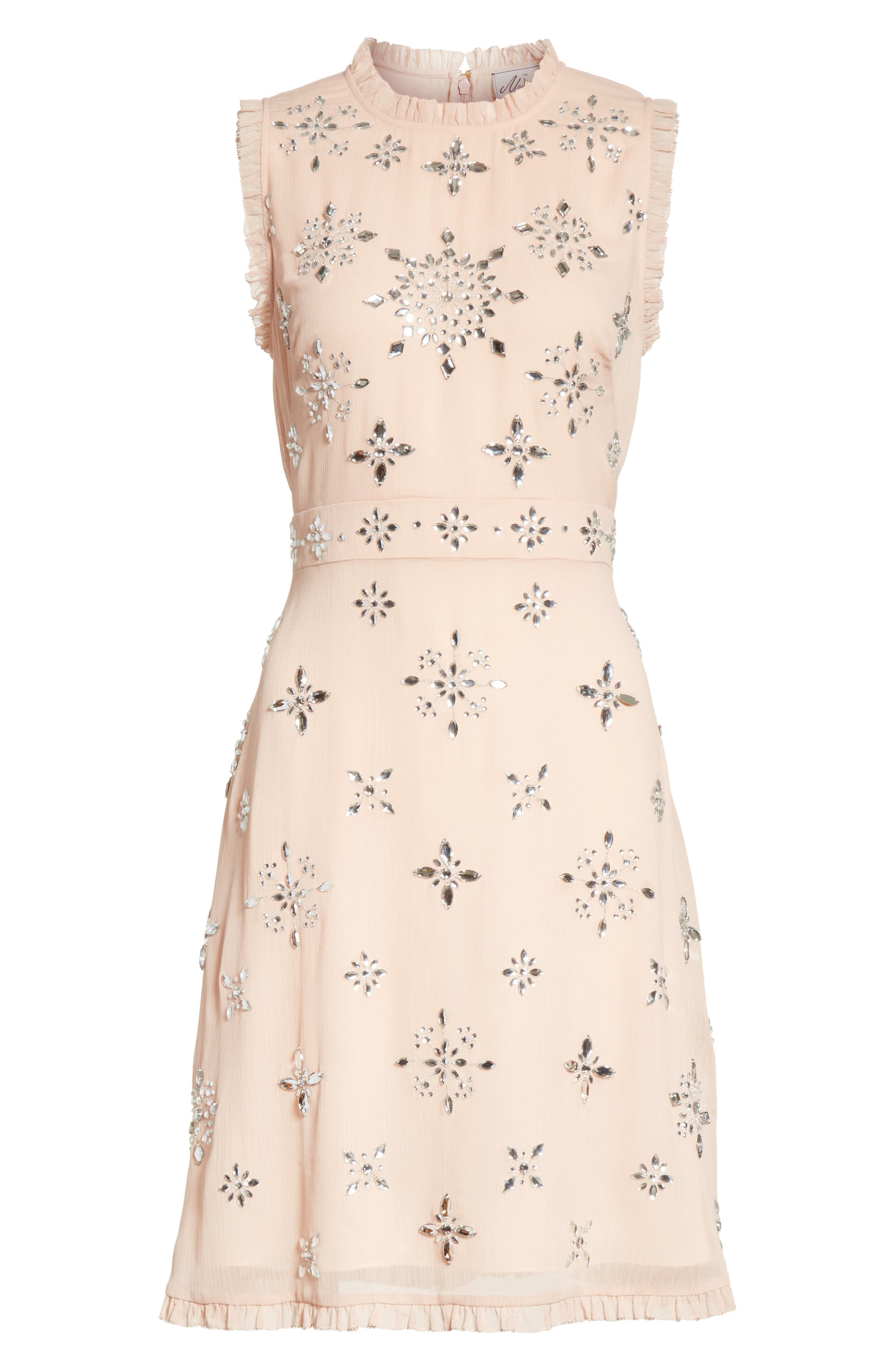 solani embellished chiffon dress,                             Alternate thumbnail 6, color,                             691