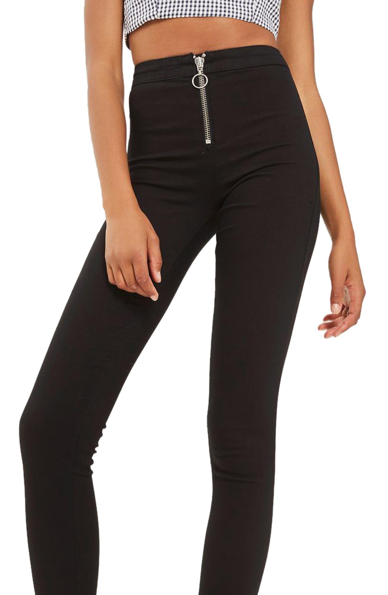 Joni High Rise Zip Front Super Skinny Jeans,                             Main thumbnail 1, color,                             001