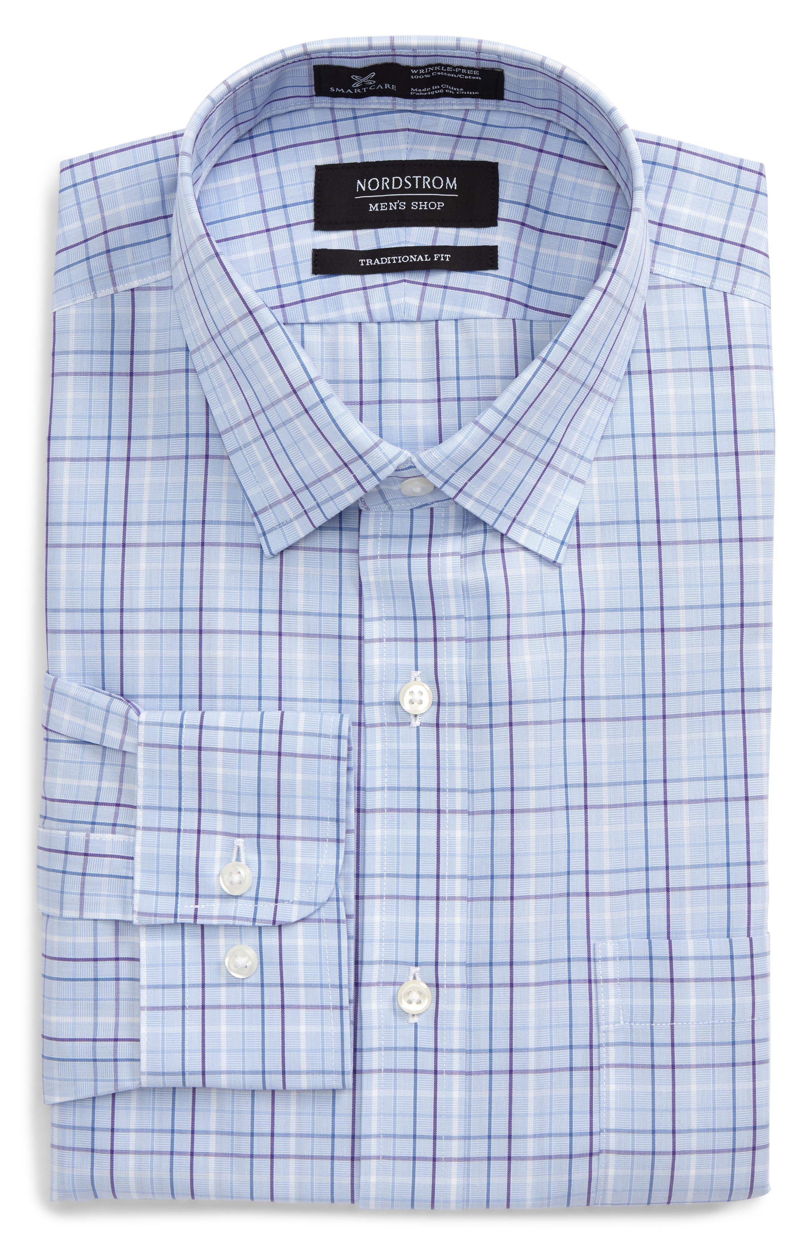 Smartcare<sup>™</sup> Traditional Fit Plaid Dress Shirt,                             Main thumbnail 2, color,