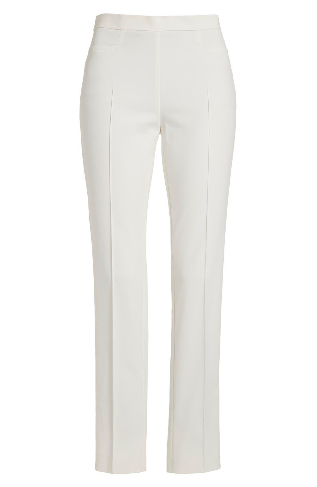 'Franca' Techno Cotton Blend Ankle Pants,                             Alternate thumbnail 8, color,                             ECRU