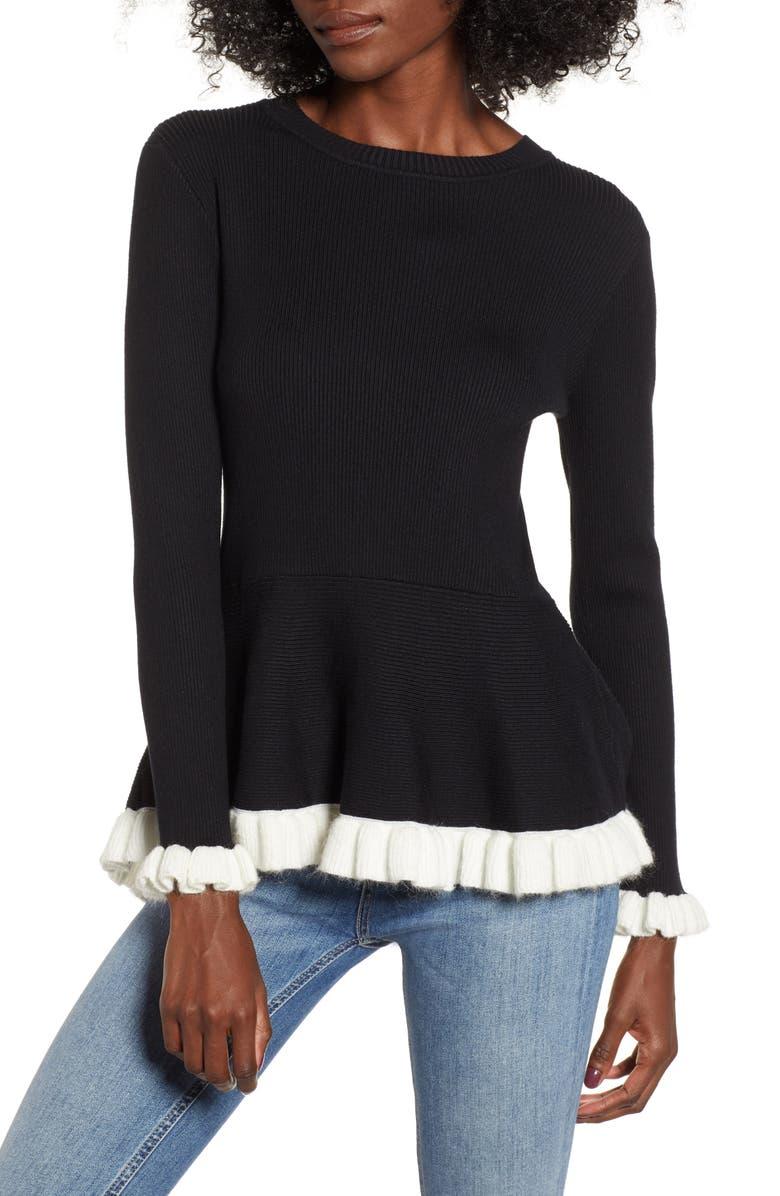 High/Low Peplum Sweater, Main, color, BLACK