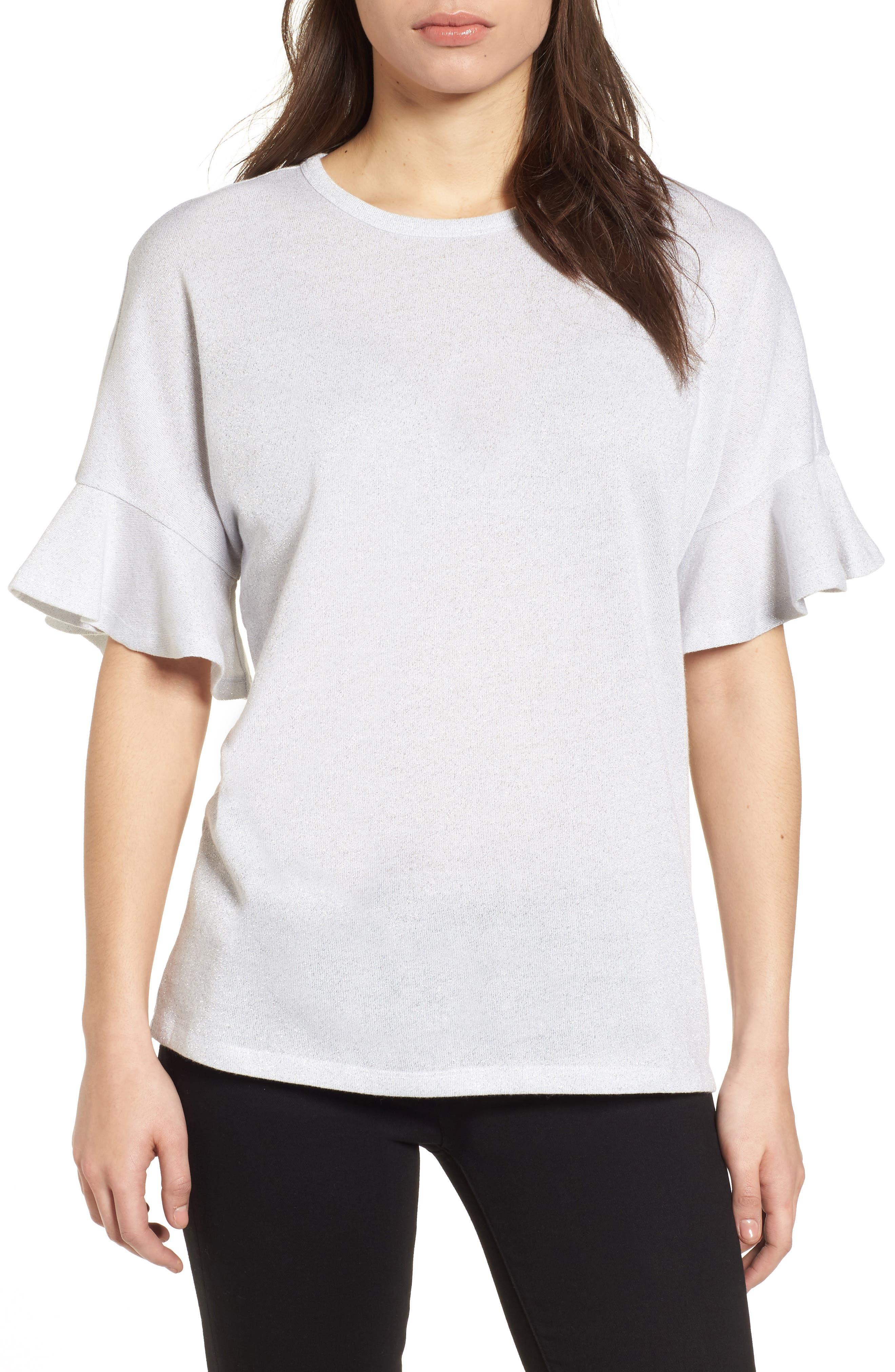 Ruffle Sleeve Top,                         Main,                         color,