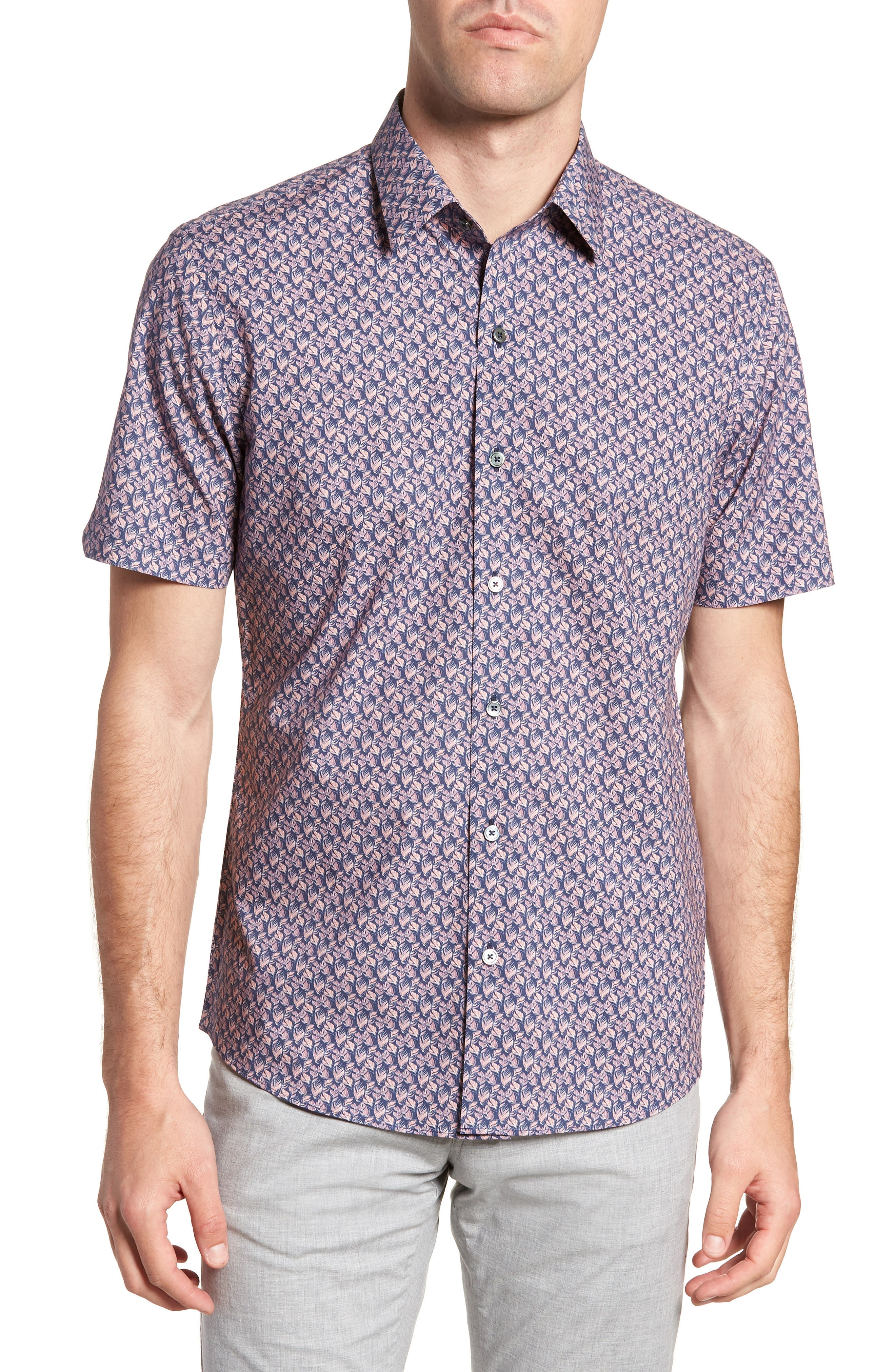 Brice Trim Fit Scribble Print Sport Shirt,                         Main,                         color, PURPLE