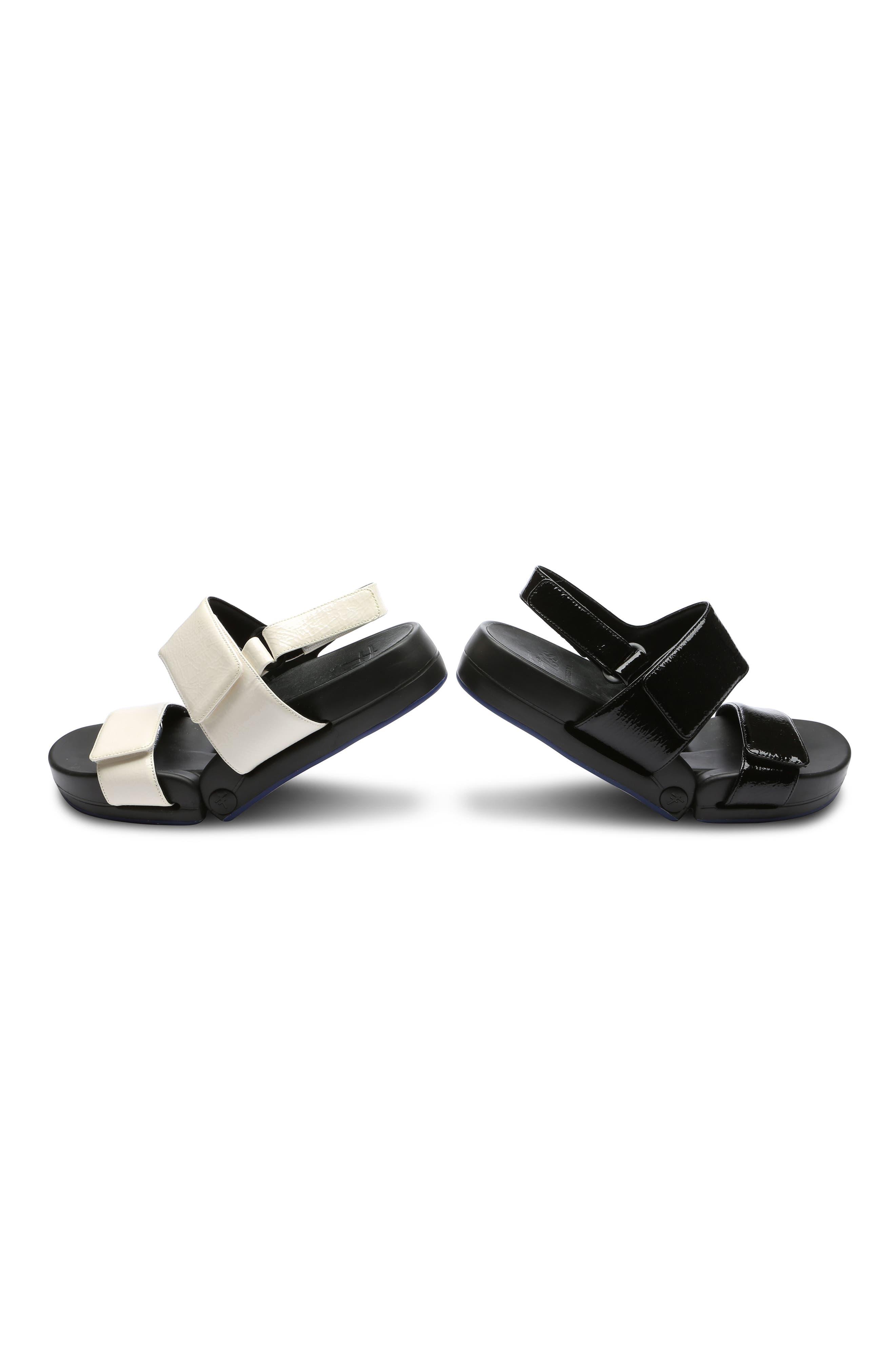 Figulous Sandal,                             Alternate thumbnail 8, color,                             BLACK CRINKLE PATENT LEATHER