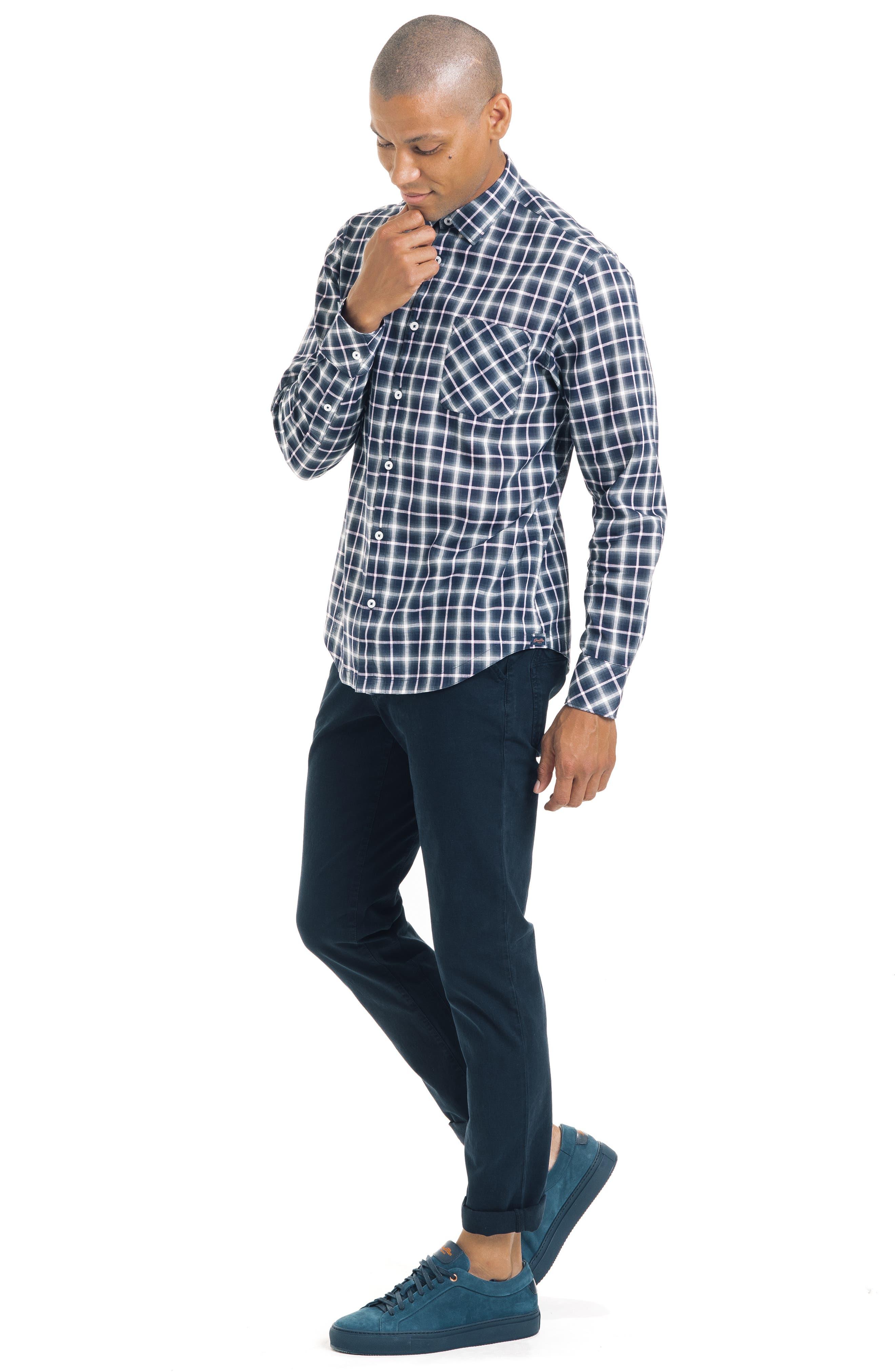 Bias Slim Fit Ombré Plaid Sport Shirt,                             Alternate thumbnail 5, color,                             BLUE