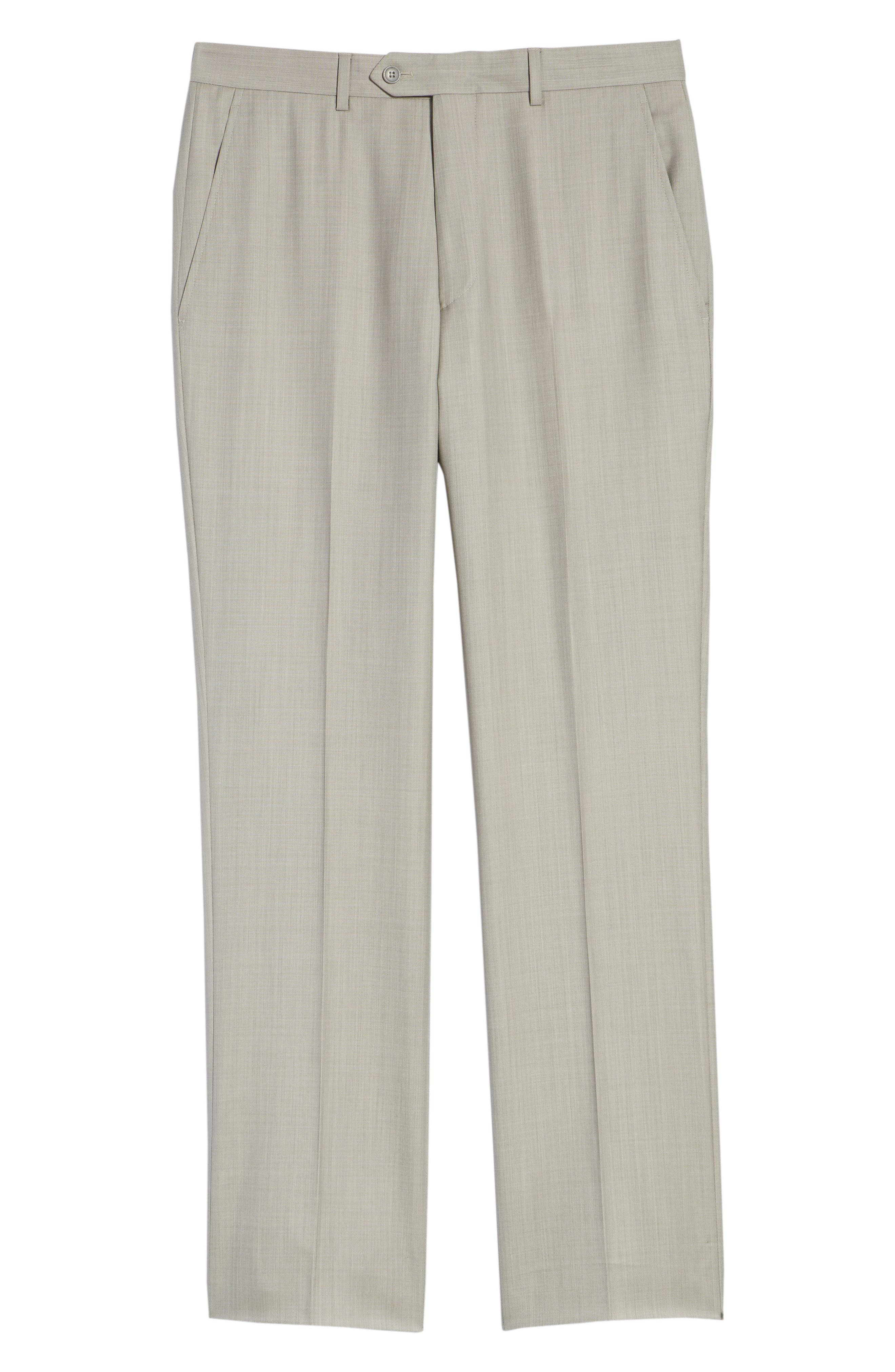 Flat Front Sharkskin Wool Trousers,                             Alternate thumbnail 6, color,                             SAND