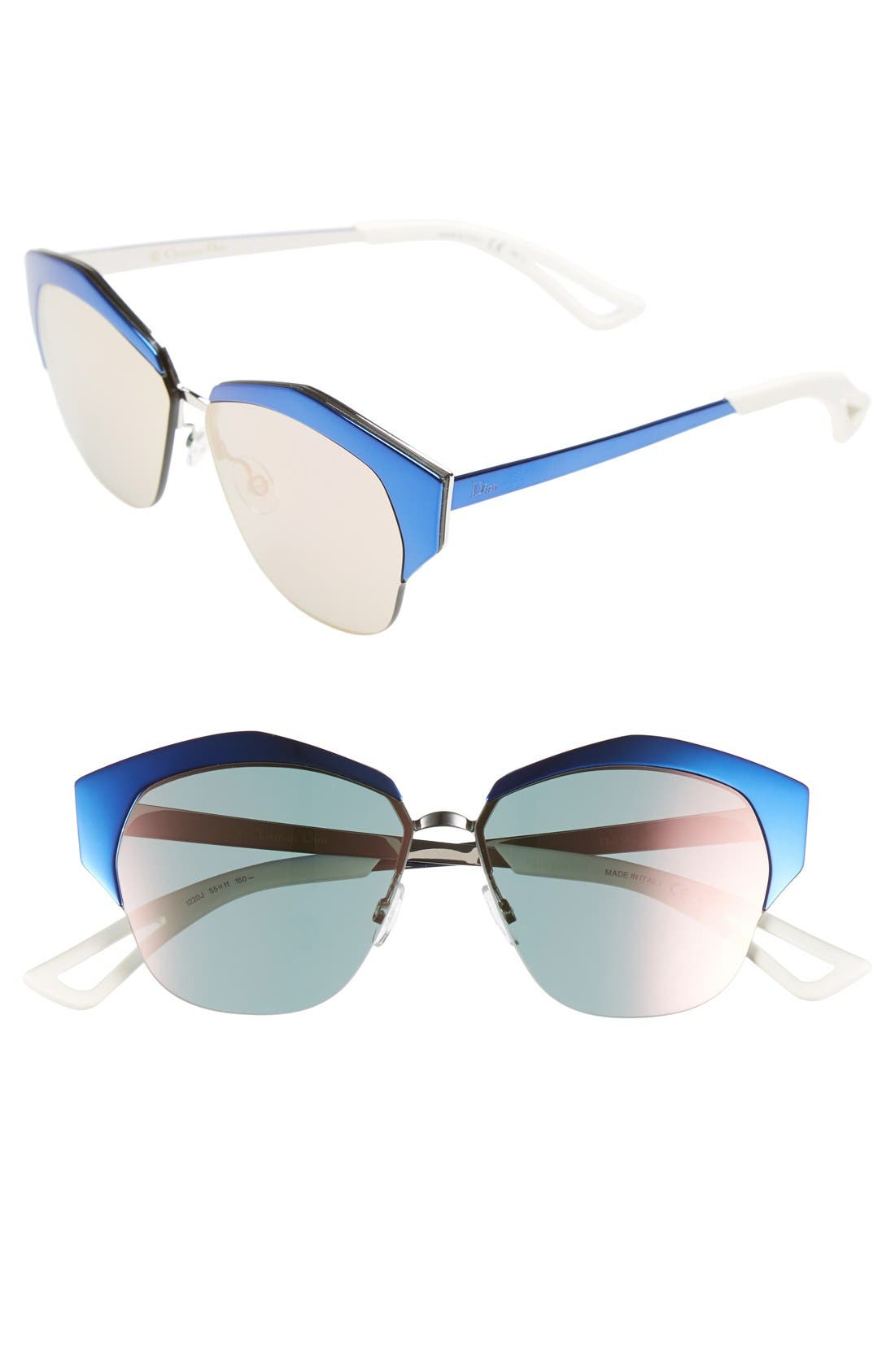 'Mirrors' 55mm Cat Eye Sunglasses, Main, color, 001