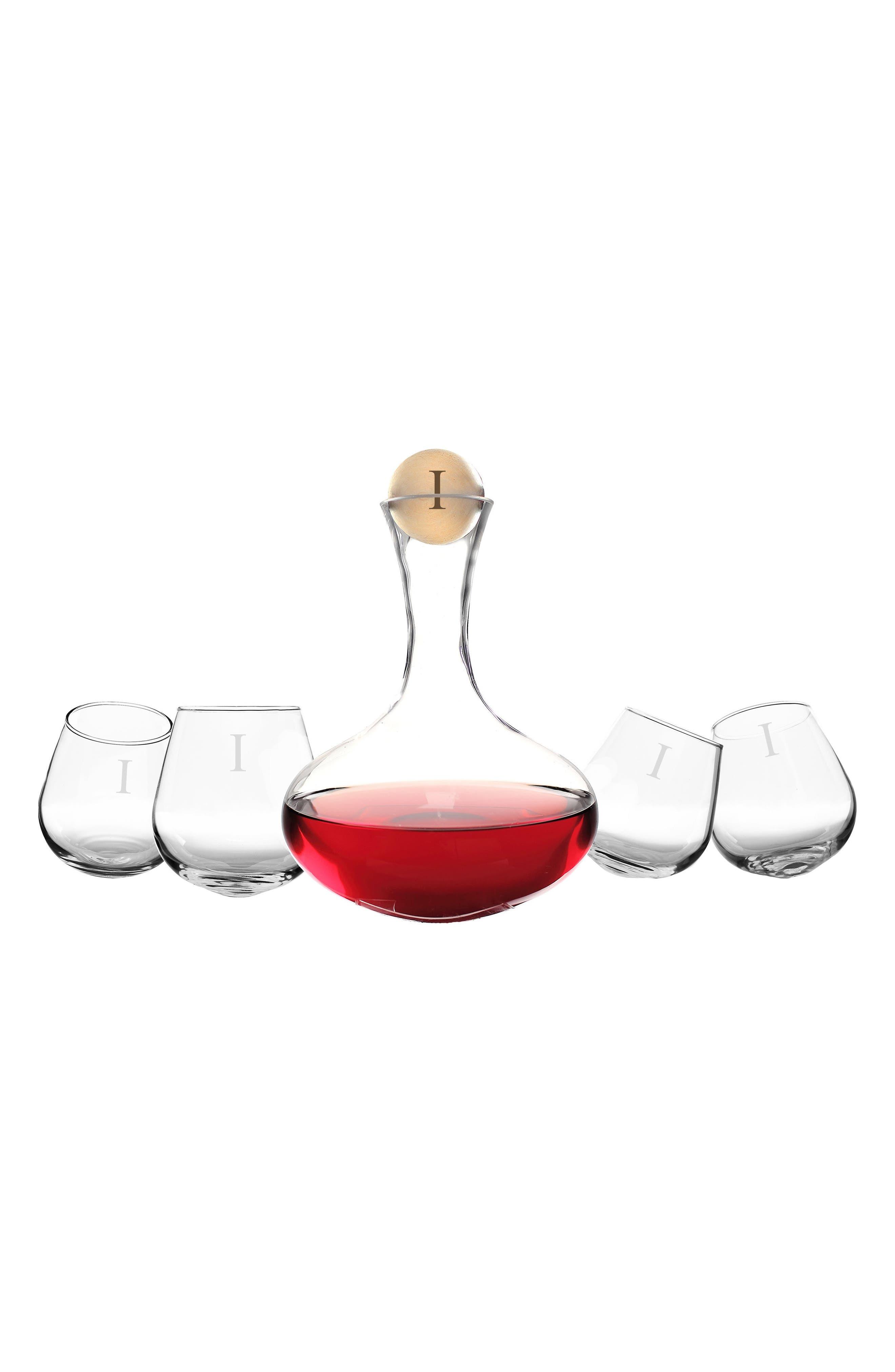 'Tipsy' Monogram Wine Decanter & Stemless Glasses,                             Main thumbnail 1, color,                             I