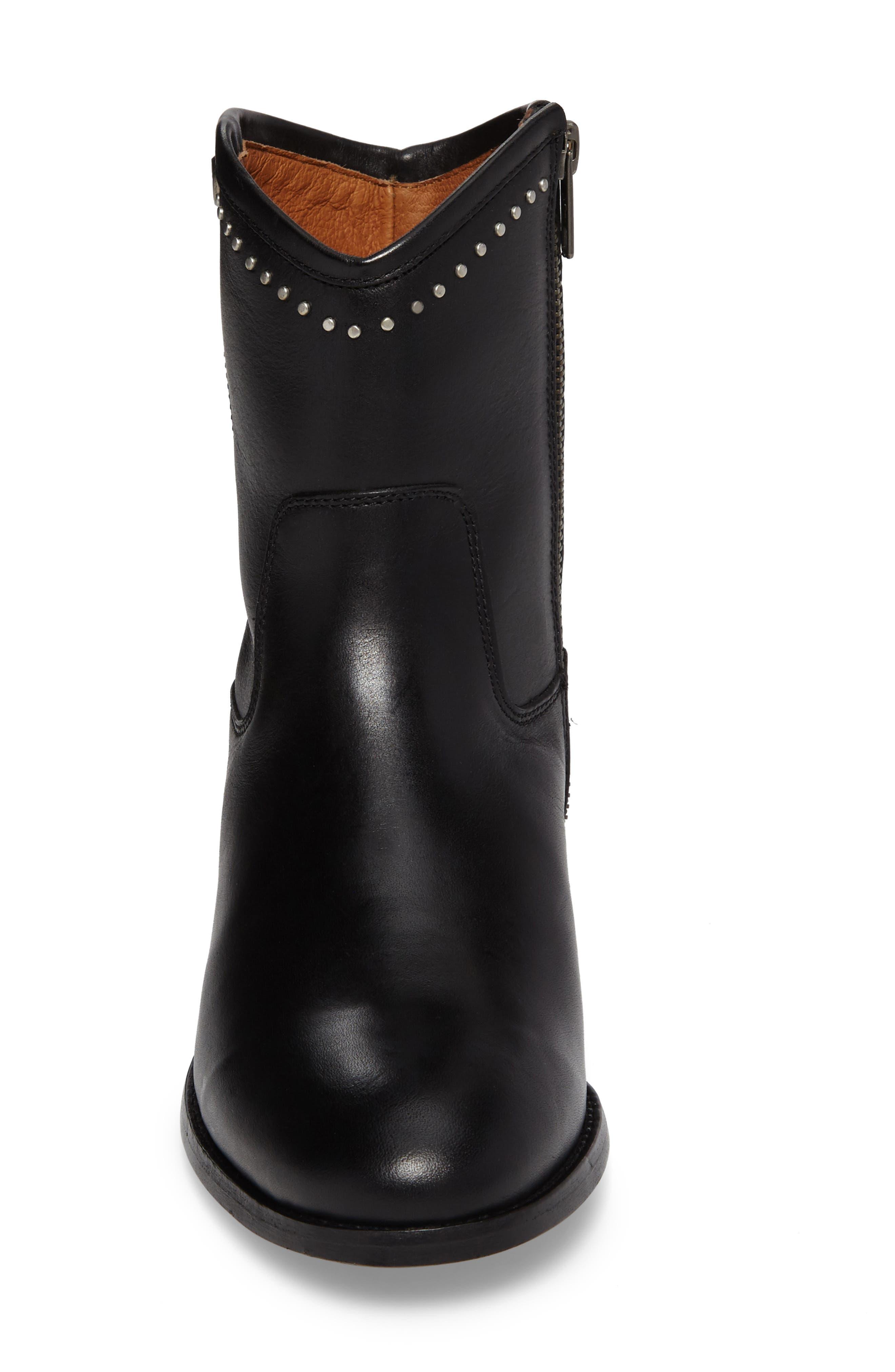 Melissa Stud Short Boot,                             Alternate thumbnail 4, color,                             BLACK