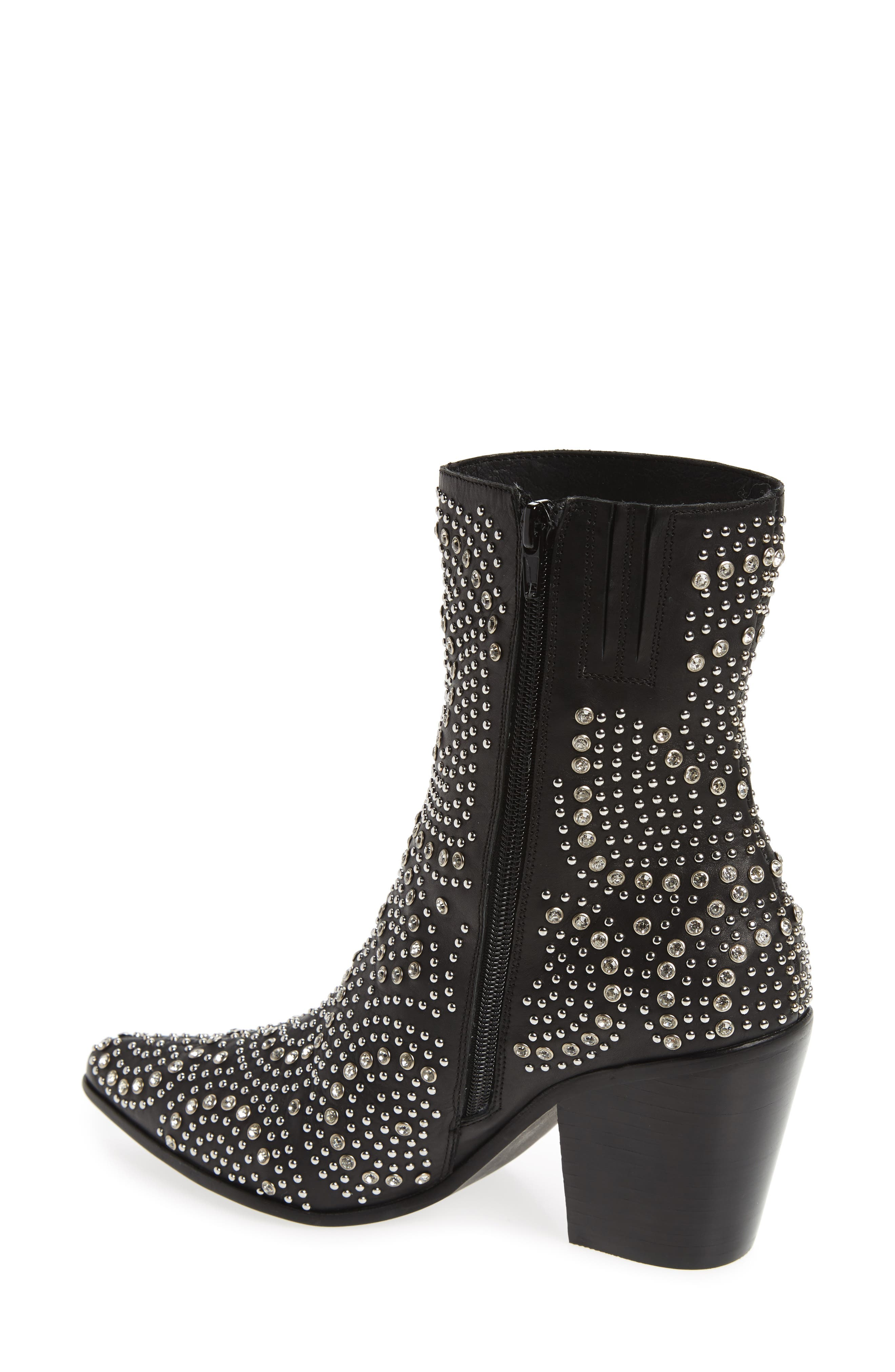 ACE-SJ Embellished Bootie,                             Alternate thumbnail 2, color,                             BLACK/ SILVER SUEDE