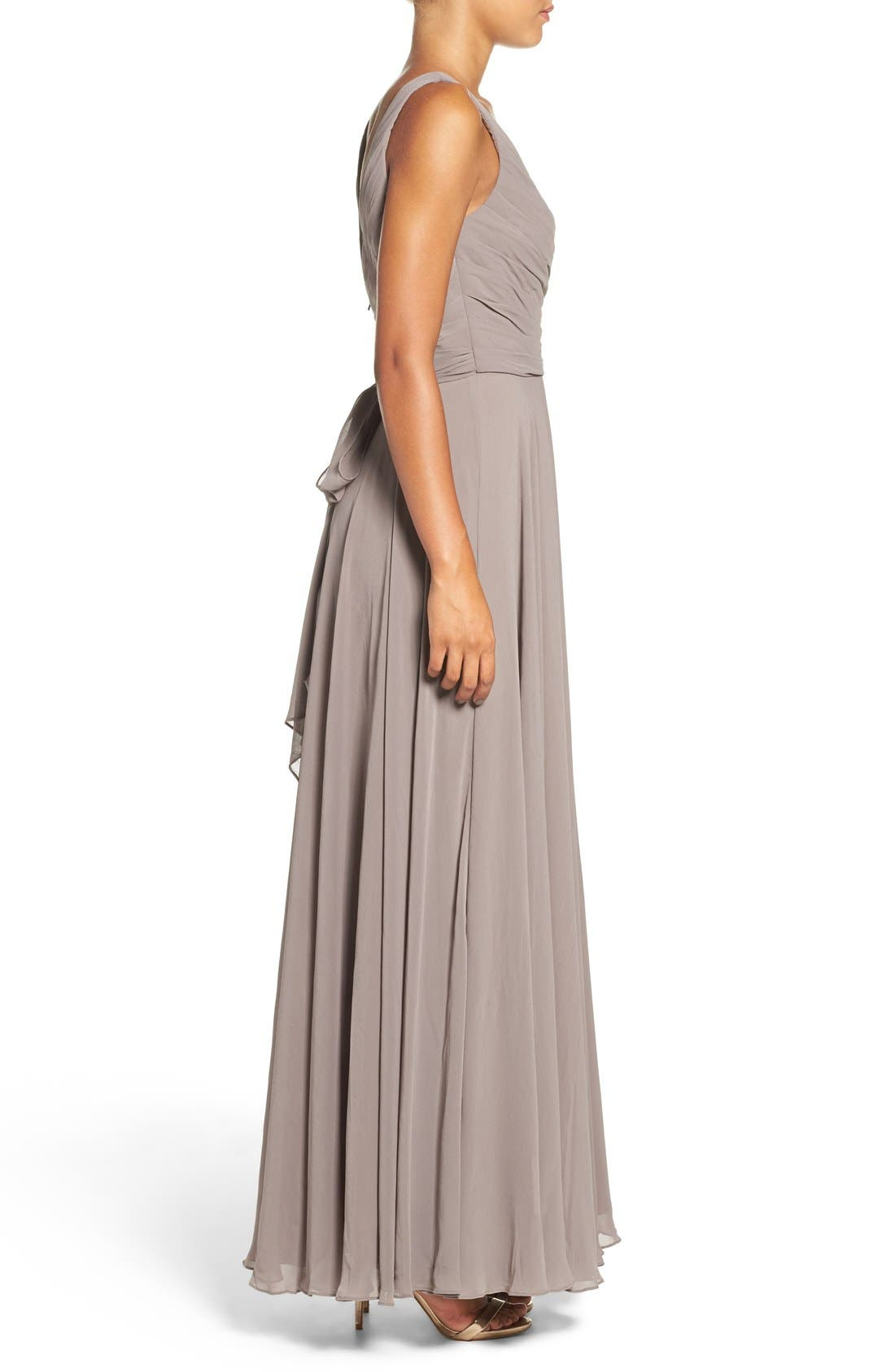 Karen V-Neck A-Line Chiffon Gown,                             Alternate thumbnail 3, color,                             020