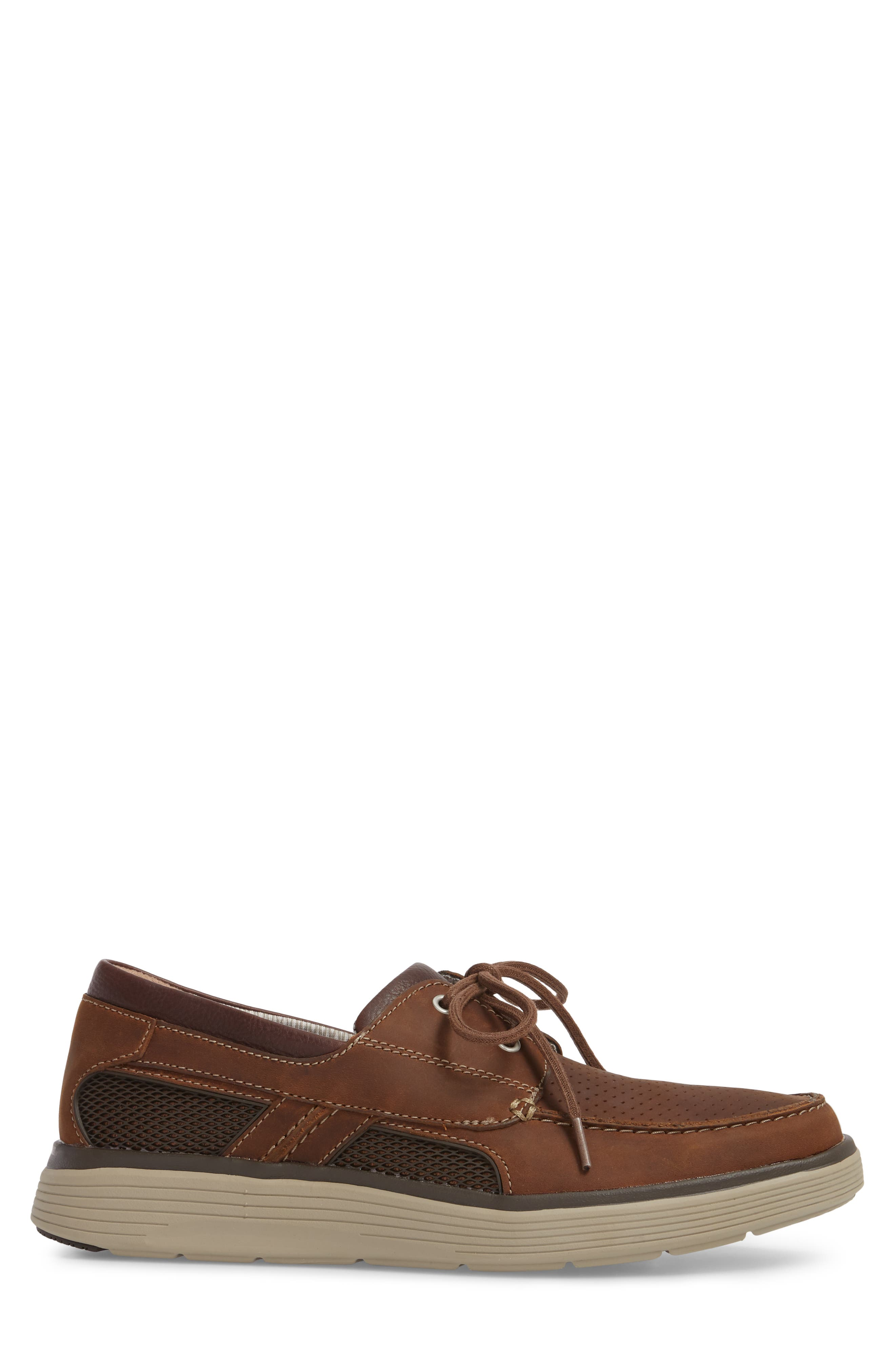 Clarks<sup>®</sup> Unabobe Step Boat Shoe,                             Alternate thumbnail 3, color,                             DARK TAN LEATHER
