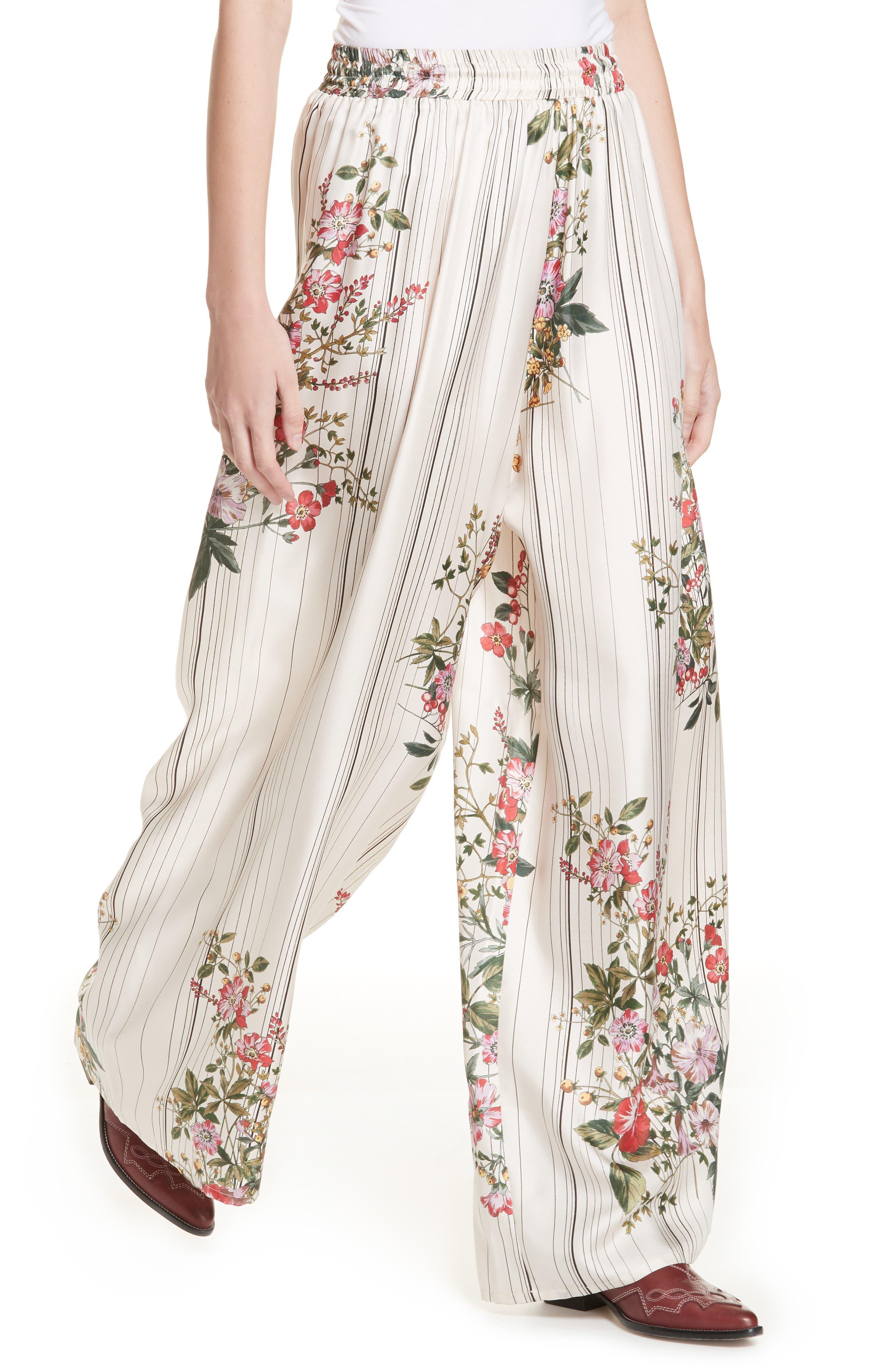 Conner Floral & Stripe Wide Leg Silk Pants,                             Alternate thumbnail 4, color,                             MULTI IVOIRE