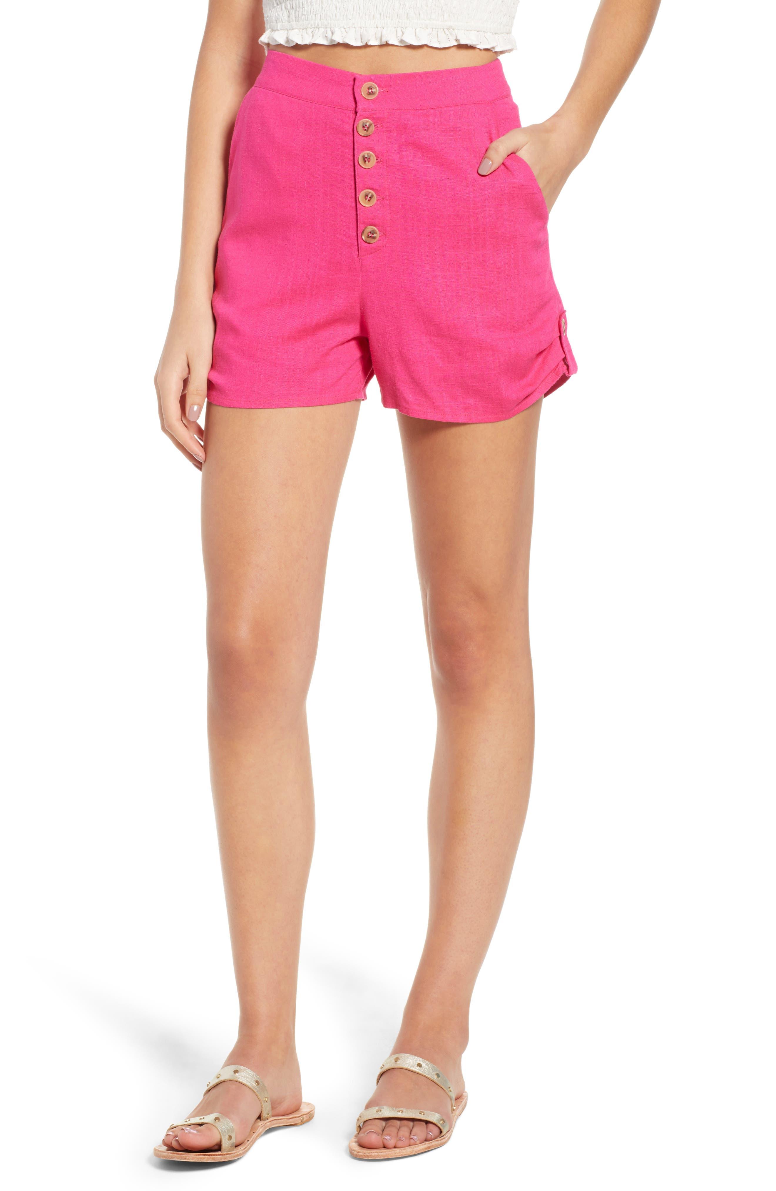 Button Front Linen & Cotton Shorts,                         Main,                         color, 650