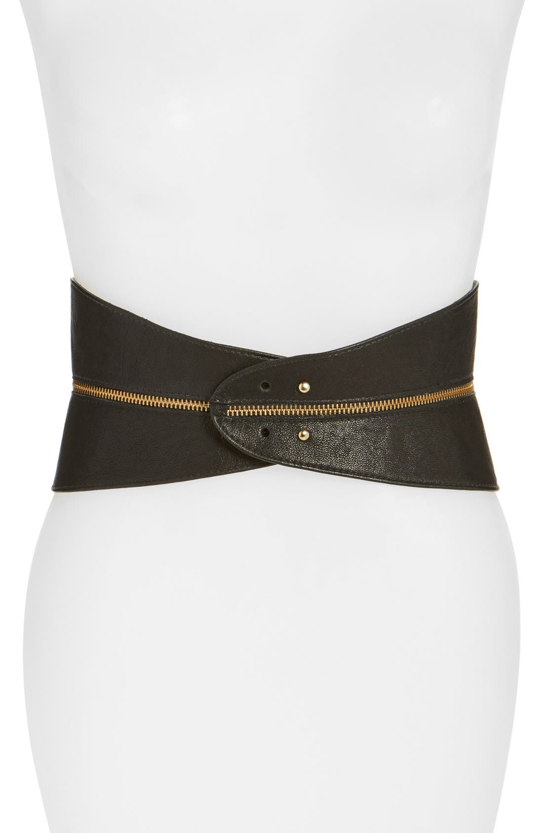 Leather Corset Belt,                         Main,                         color, BLACK