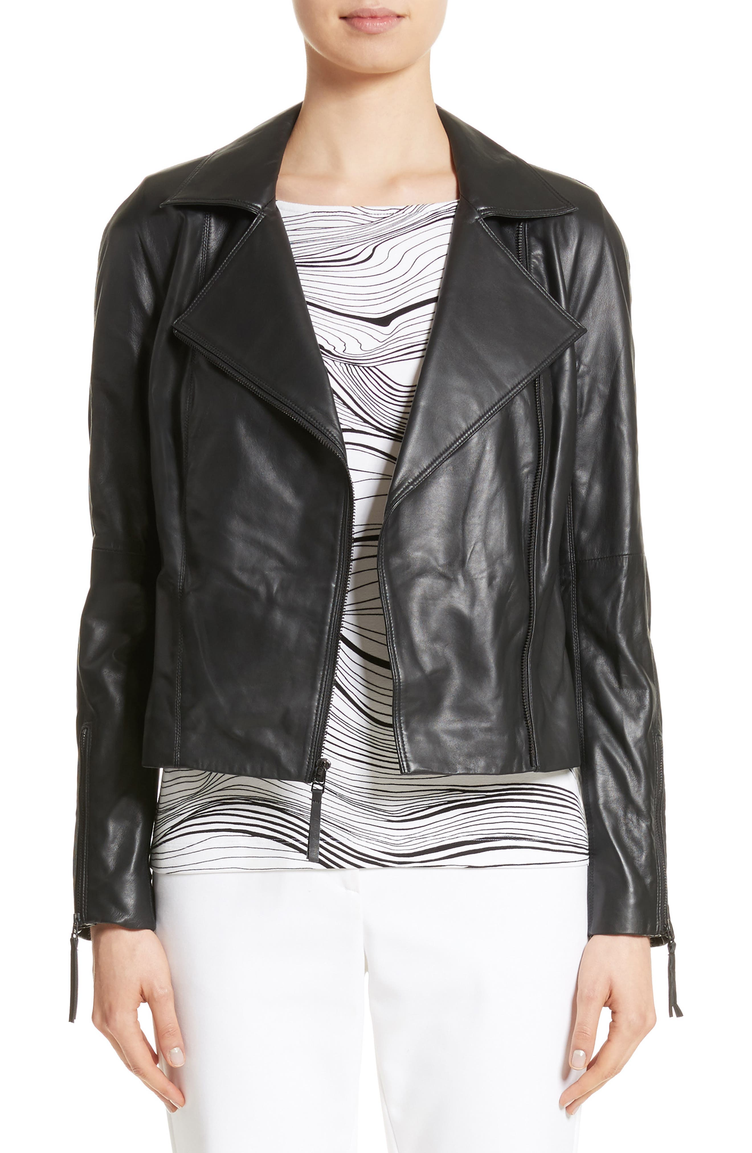 Nappa Leather Moto Jacket,                         Main,                         color, 001