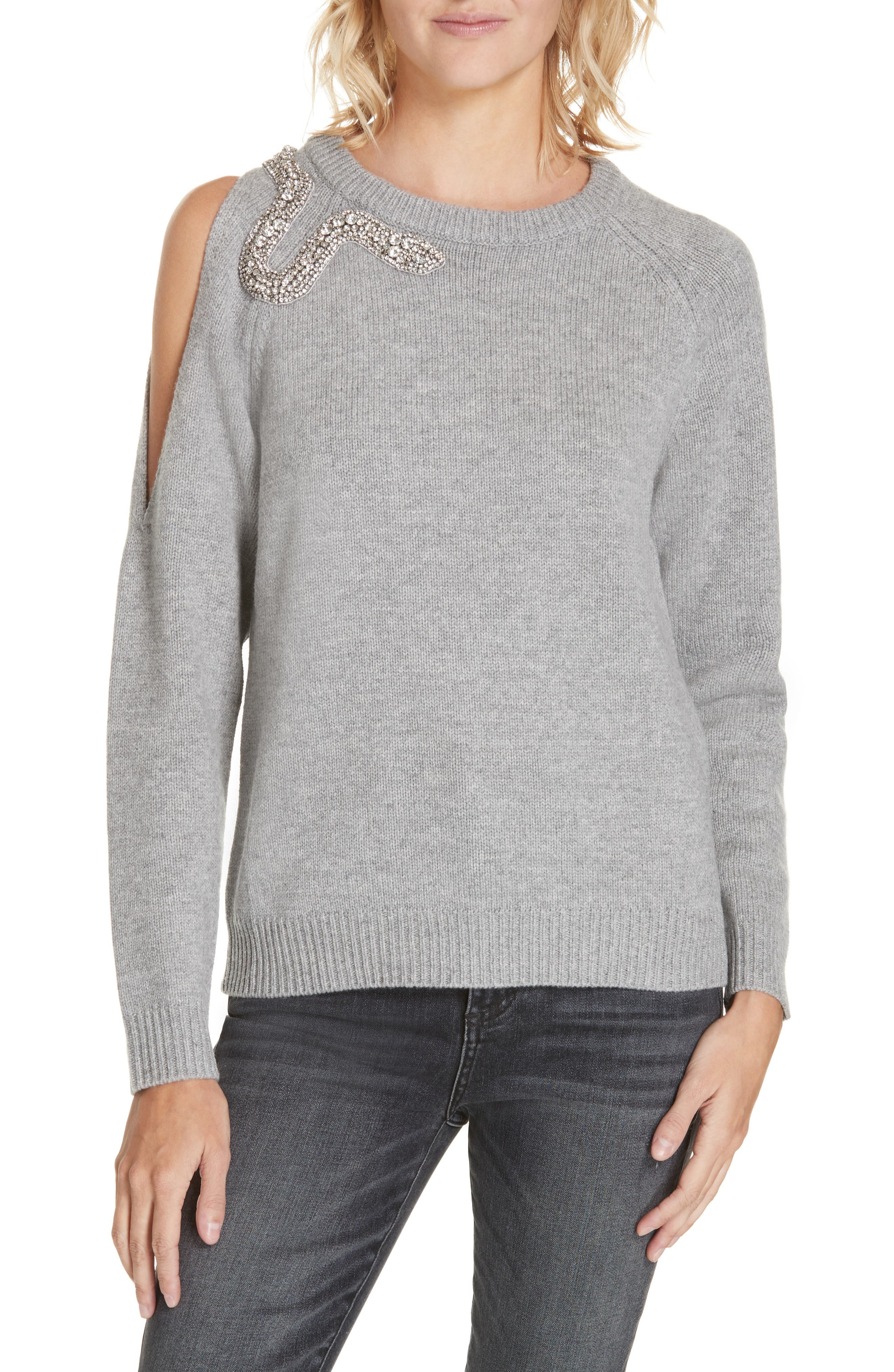 Ossi Embellished Wool Sweater,                             Main thumbnail 1, color,                             GRIS