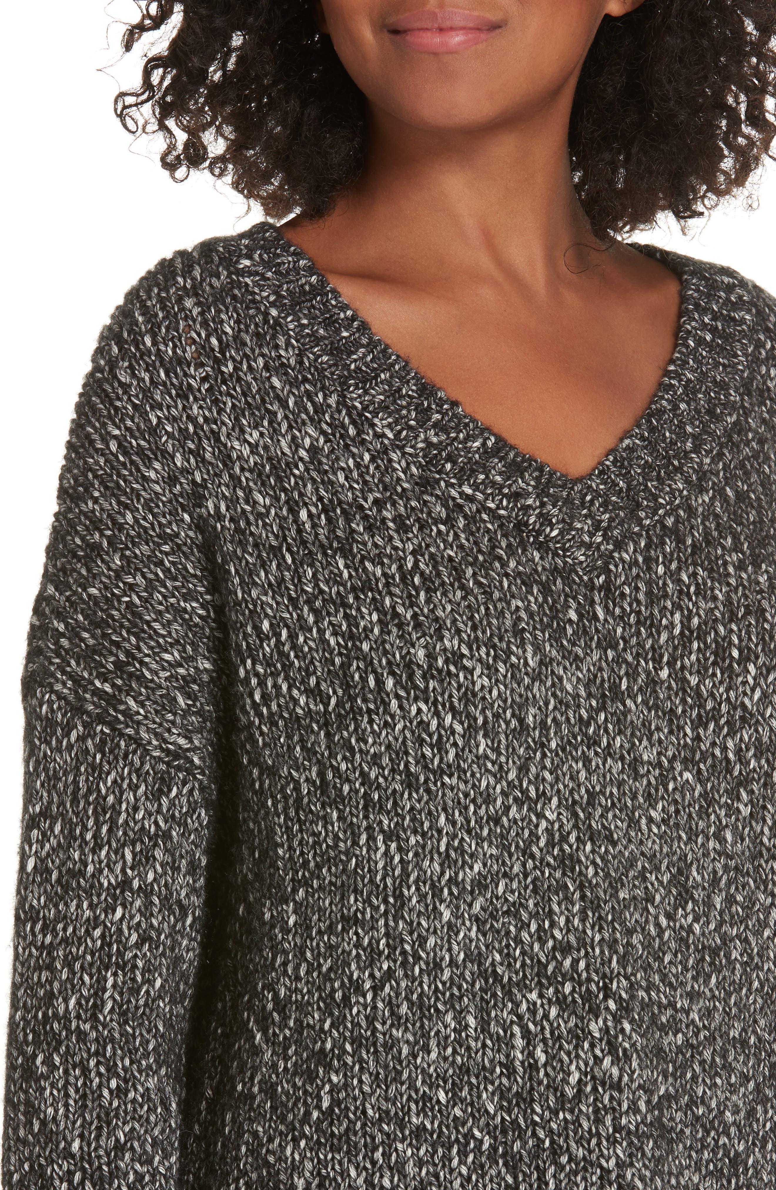 Parkland Slouchy Cotton & Wool Sweater,                             Alternate thumbnail 4, color,                             LEAD MELANGE