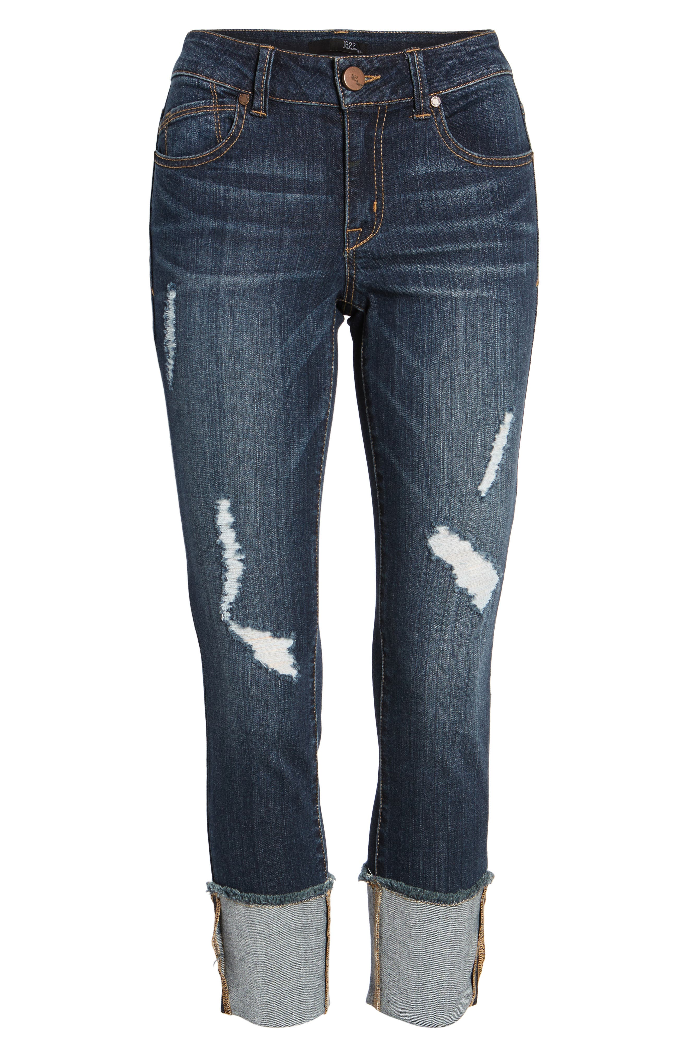 Distressed Roll Cuff Jeans,                             Alternate thumbnail 6, color,                             HAZEL
