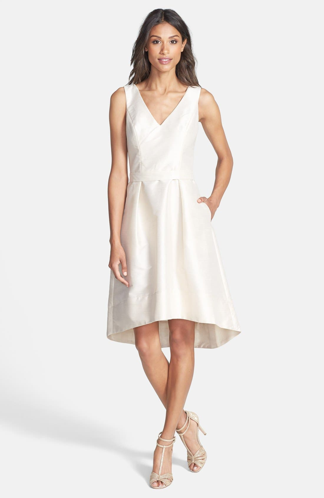 Satin High/Low Fit & Flare Dress,                             Alternate thumbnail 5, color,                             CHAMPAGNE