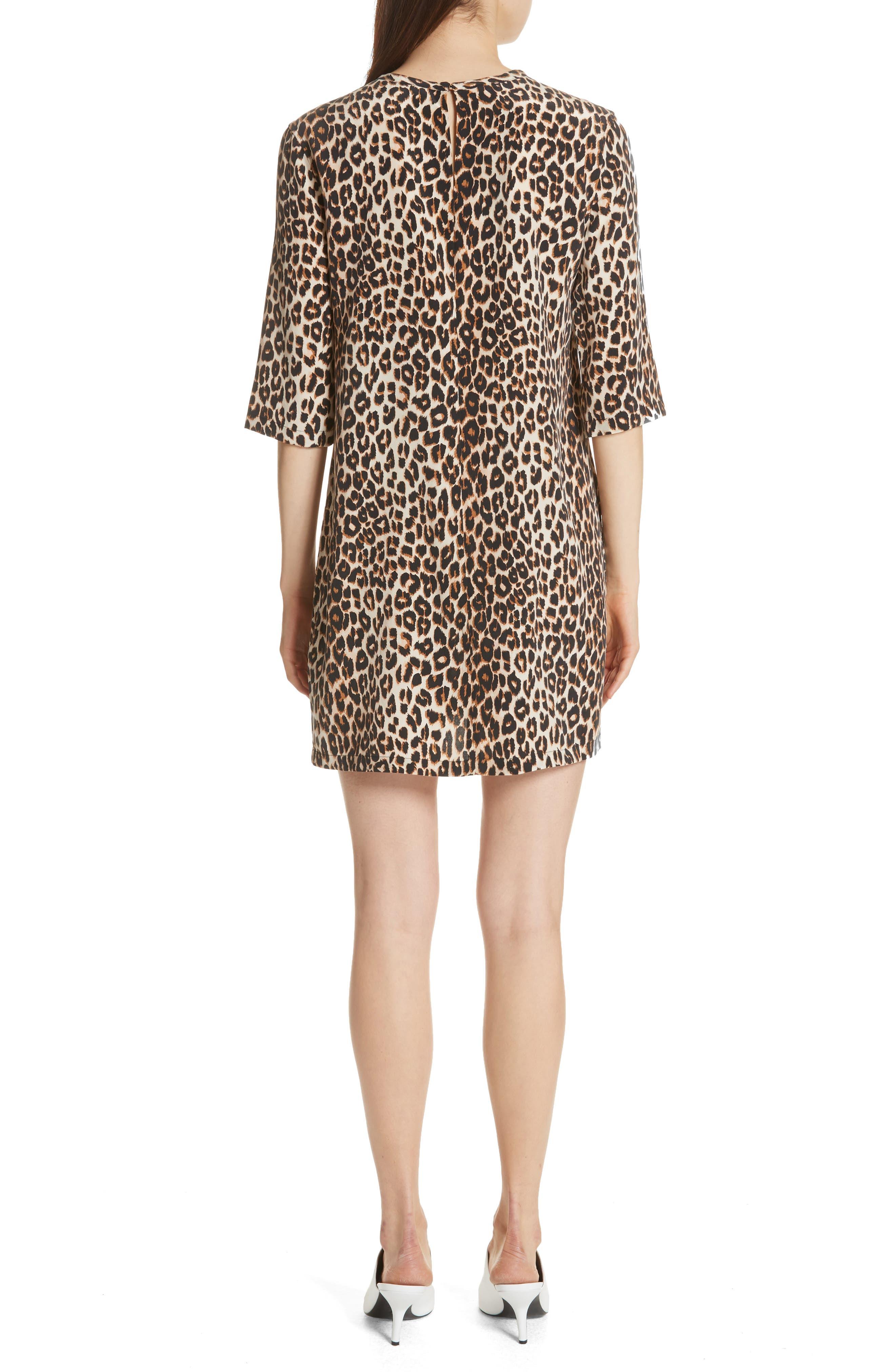 Leopard Print Silk Shift Dress,                             Alternate thumbnail 2, color,                             101