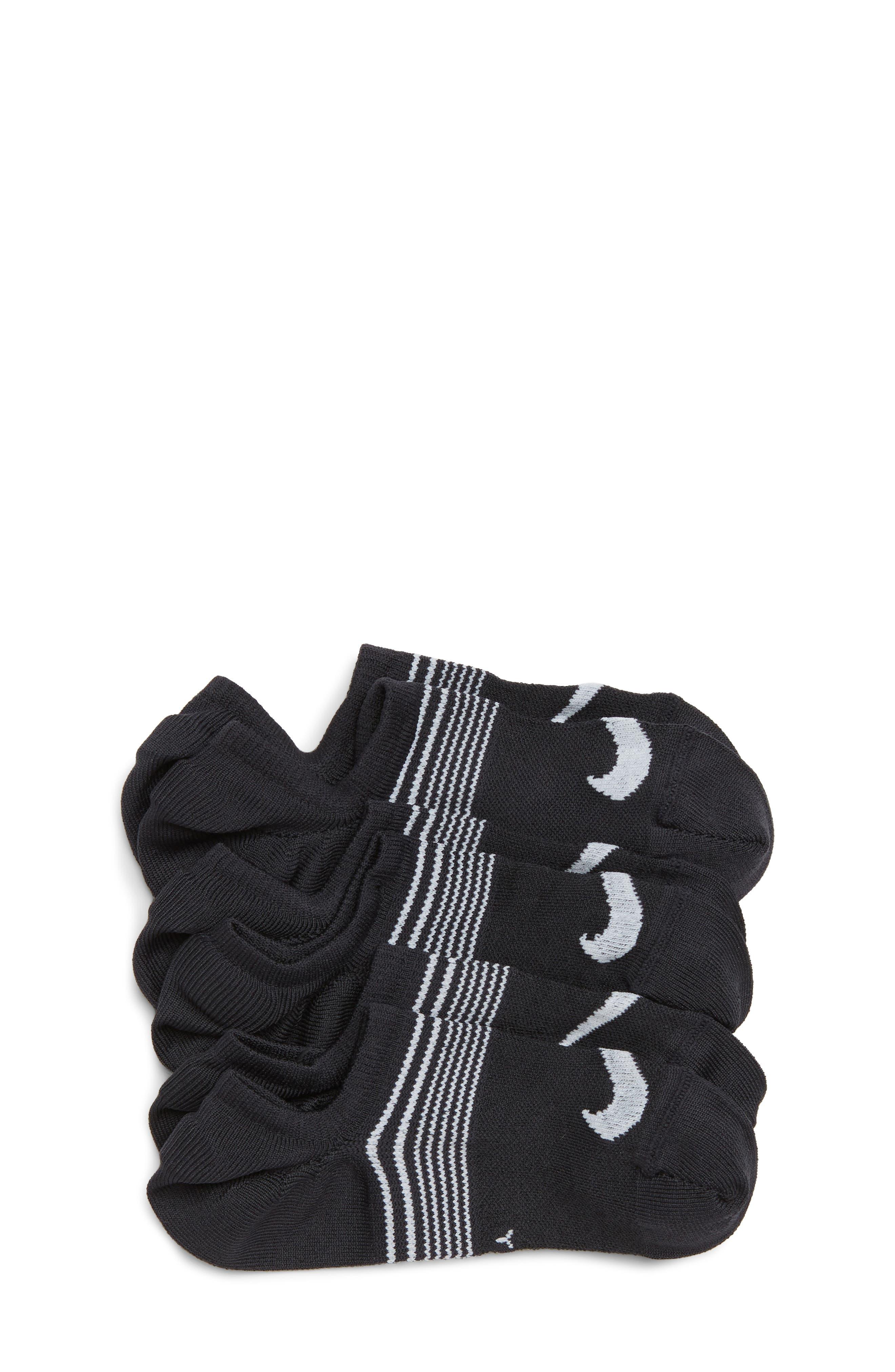 3-Pack No-Show Socks,                             Main thumbnail 1, color,                             BLACK/ WHITE