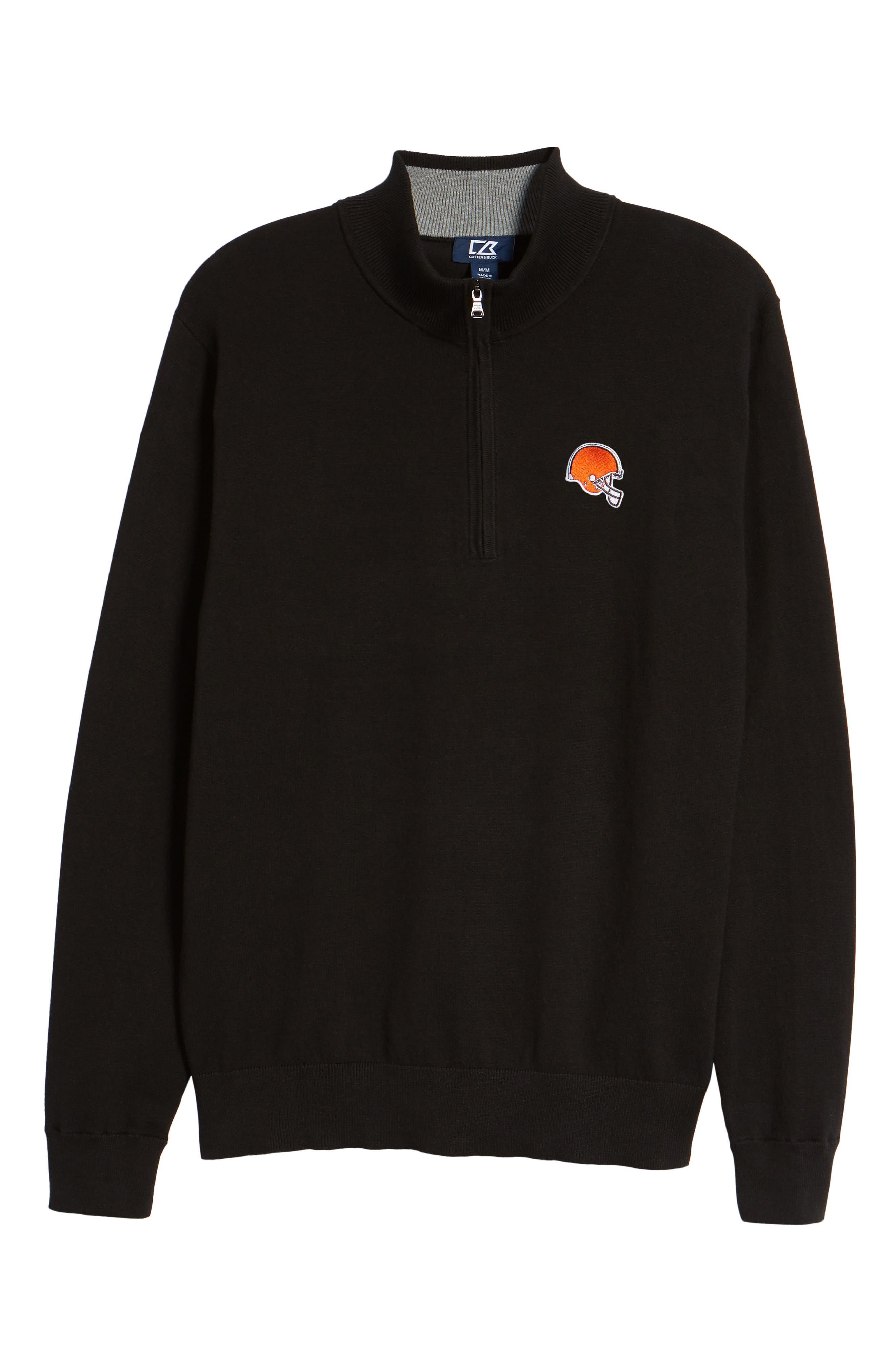Cleveland Browns - Lakemont Regular Fit Quarter Zip Sweater,                             Alternate thumbnail 6, color,                             BLACK