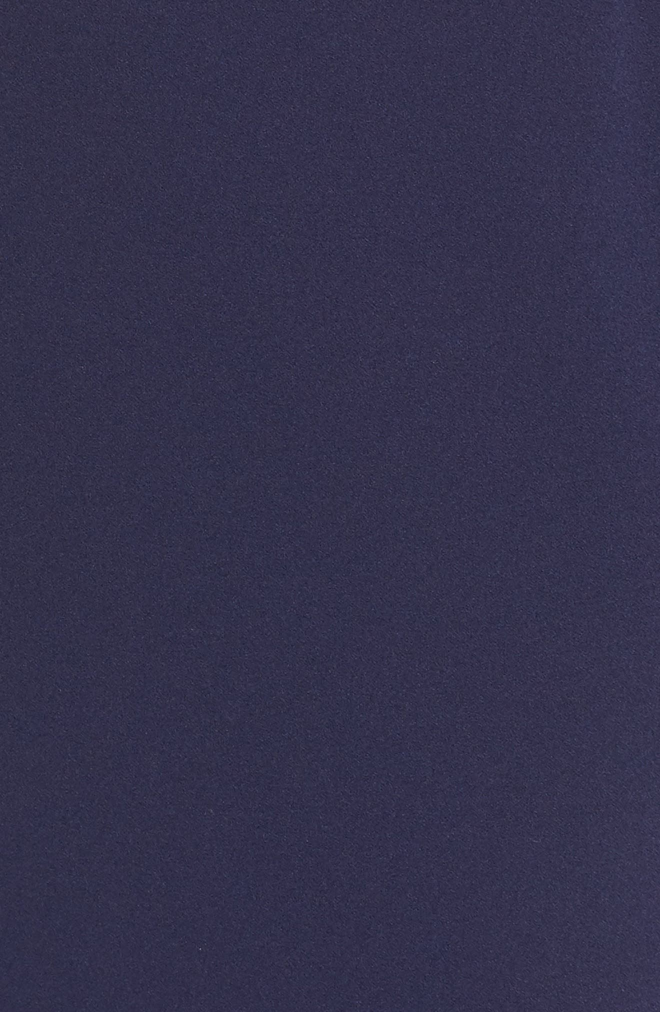 ELIZA J,                             Off the Shoulder 3D Floral Sleeve Scuba Crepe Evening Dress,                             Alternate thumbnail 6, color,                             NAVY