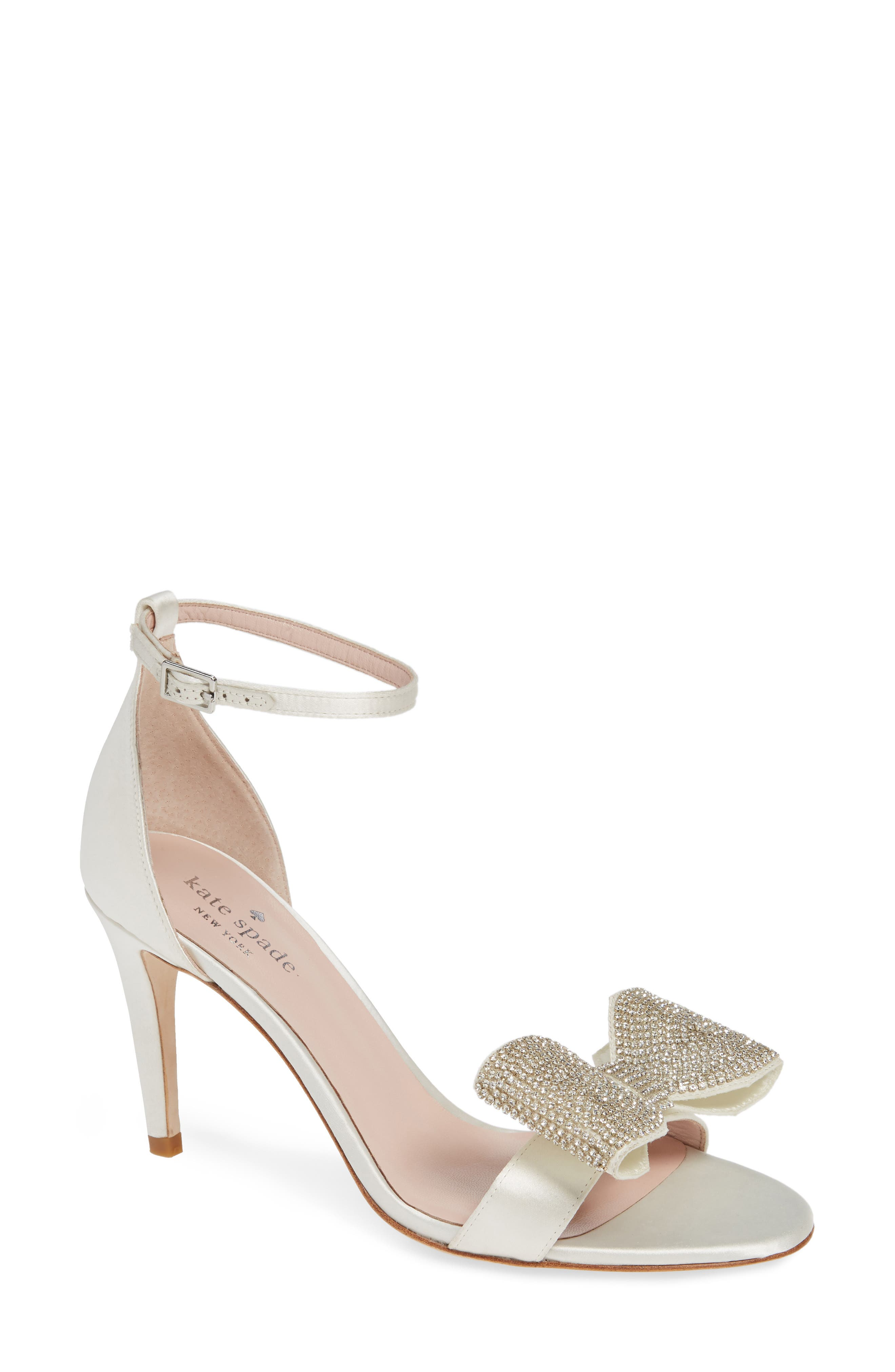 gweneth crystal bow ankle strap sandal, Main, color, 900