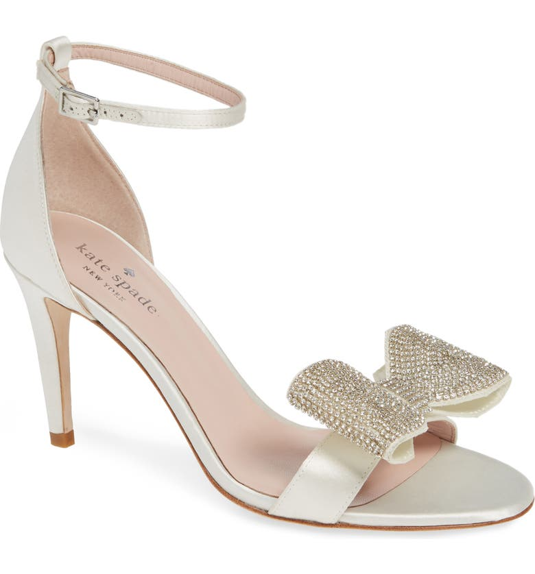 Kate Spade Gweneth Crystal Bow Ankle Strap Sandal In Ivory Satin ...