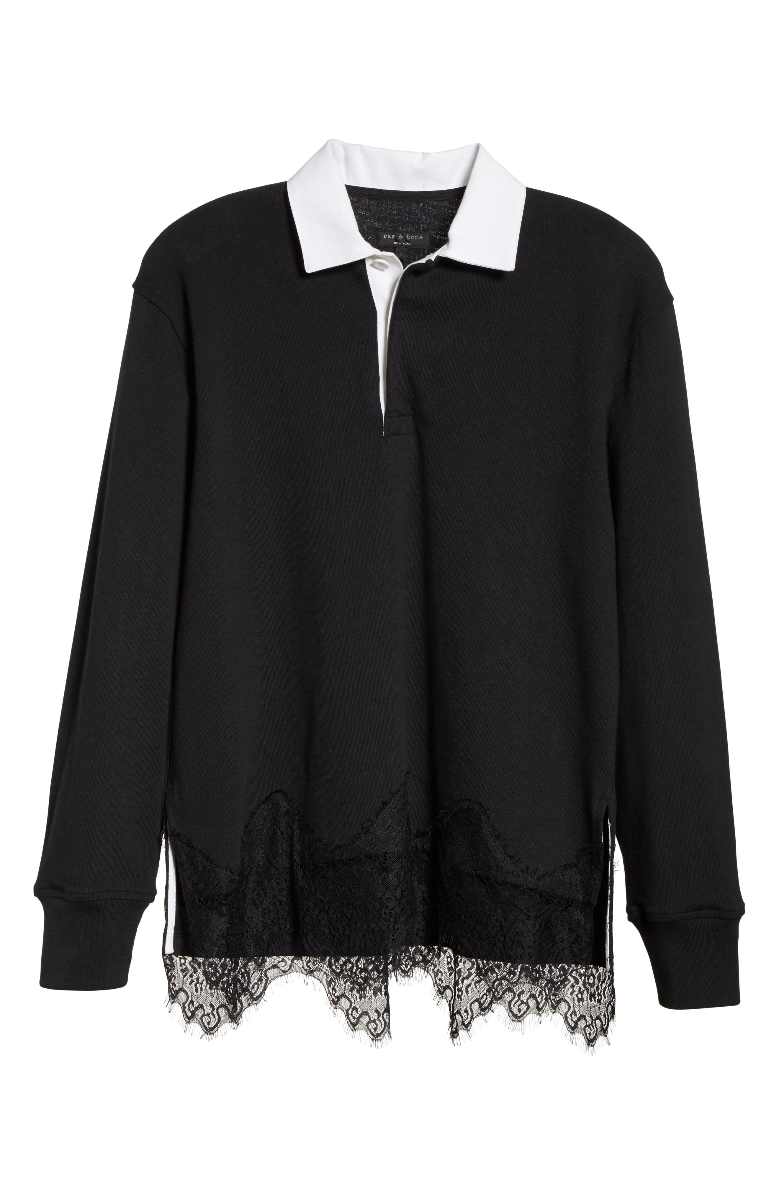 Lace Trim Rugby Sweater,                             Alternate thumbnail 6, color,                             001