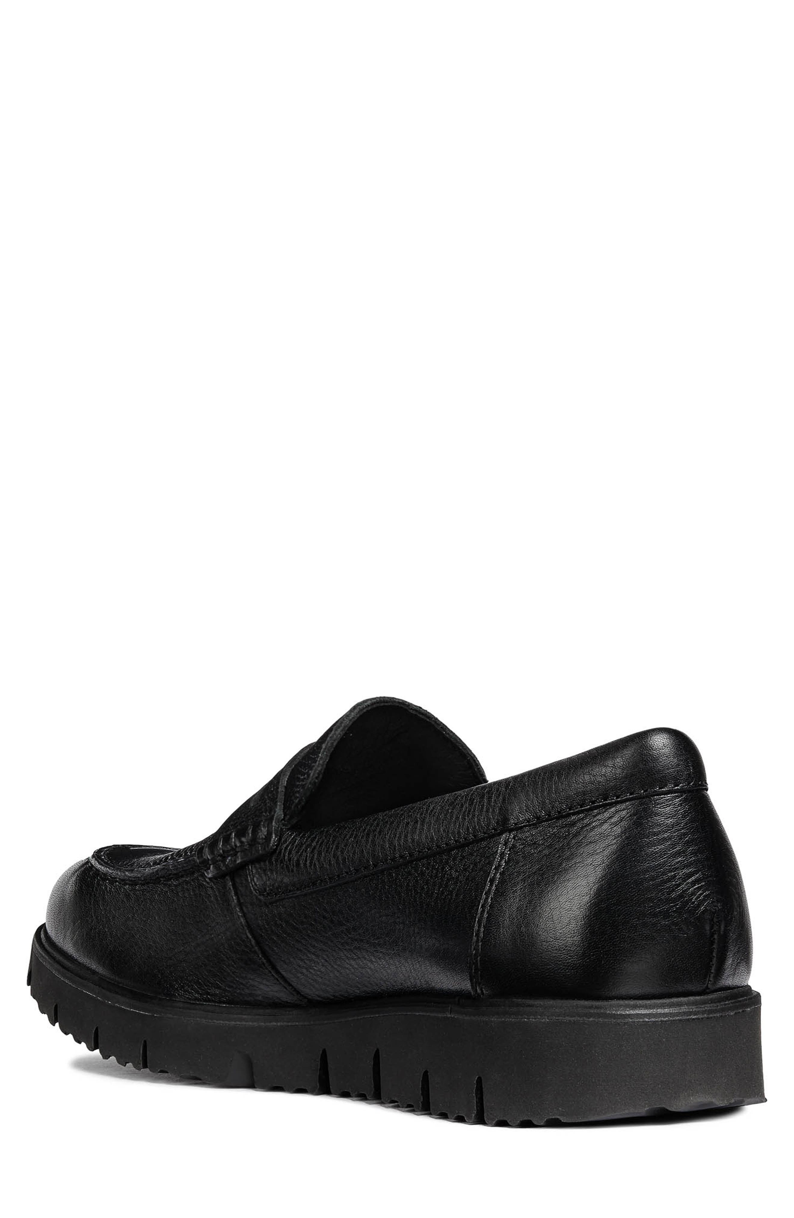 New Pluges 5 Penny Loafer,                             Alternate thumbnail 2, color,                             BLACK LEATHER