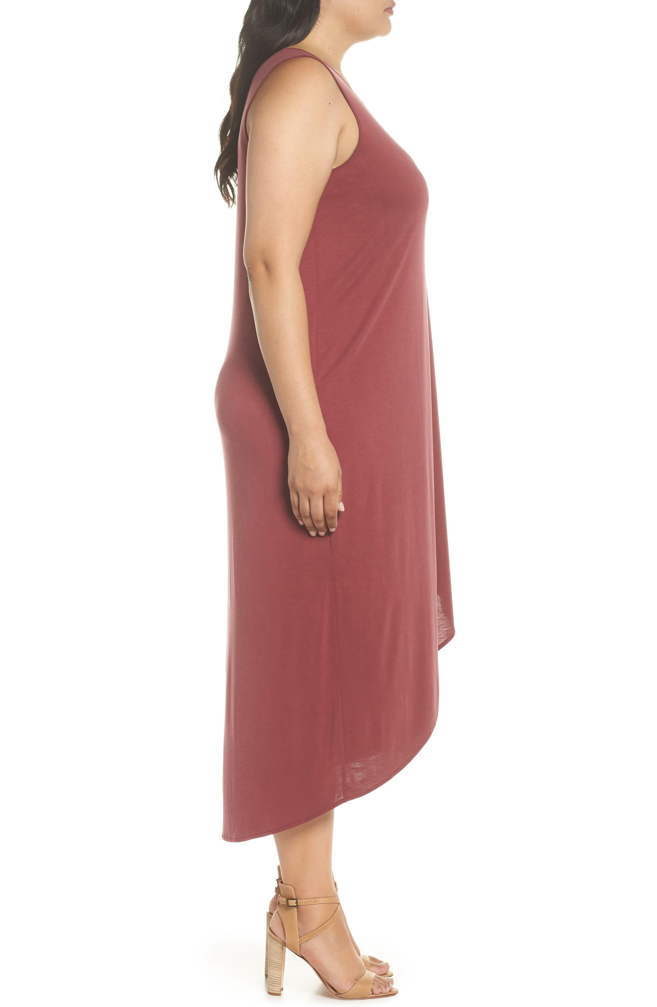 Boardwalk Jersey High/Low Dress,                             Alternate thumbnail 3, color,                             WASHED RAISIN