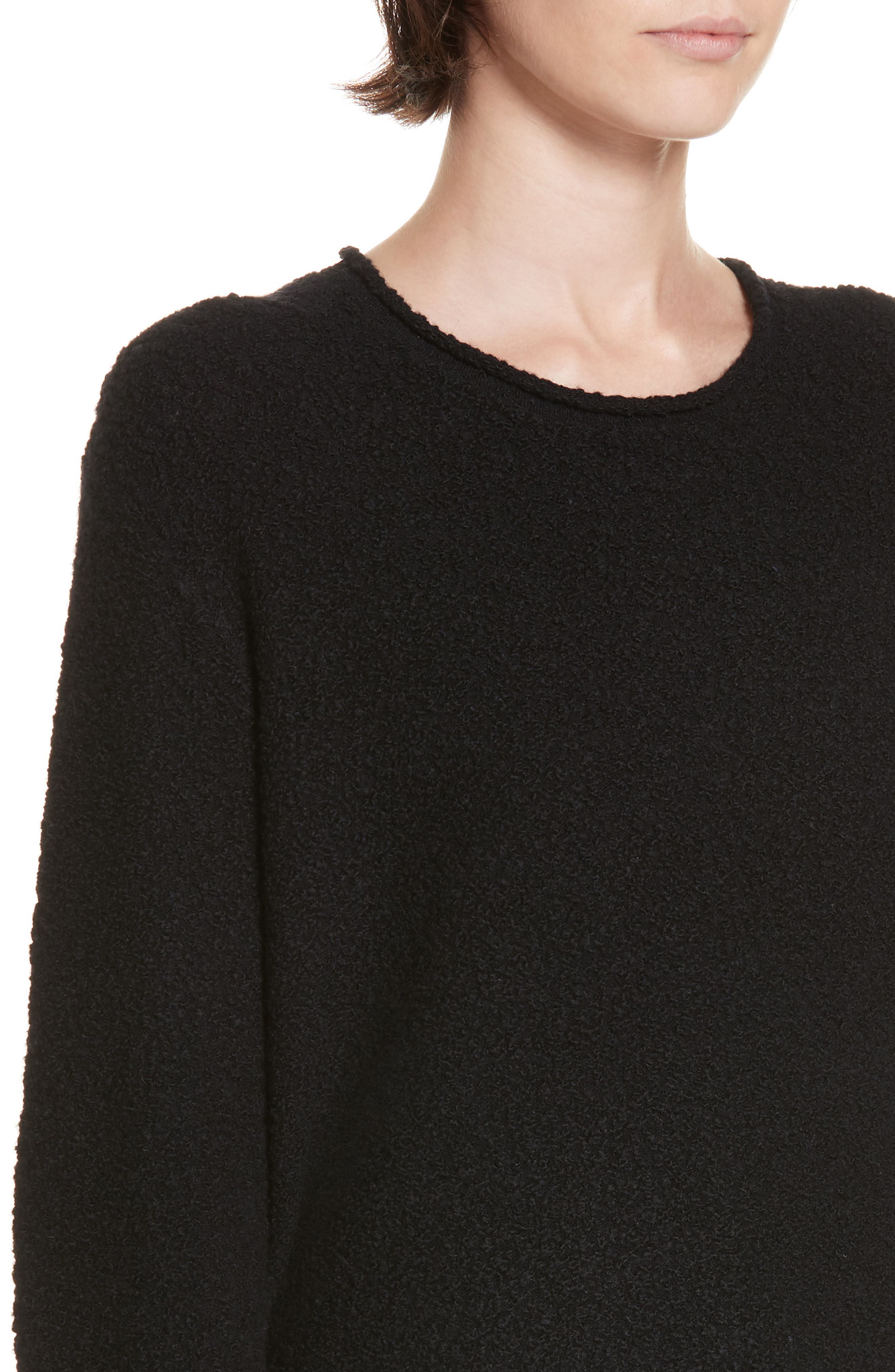 Bouclé Crewneck Sweater,                             Alternate thumbnail 4, color,                             BLACK