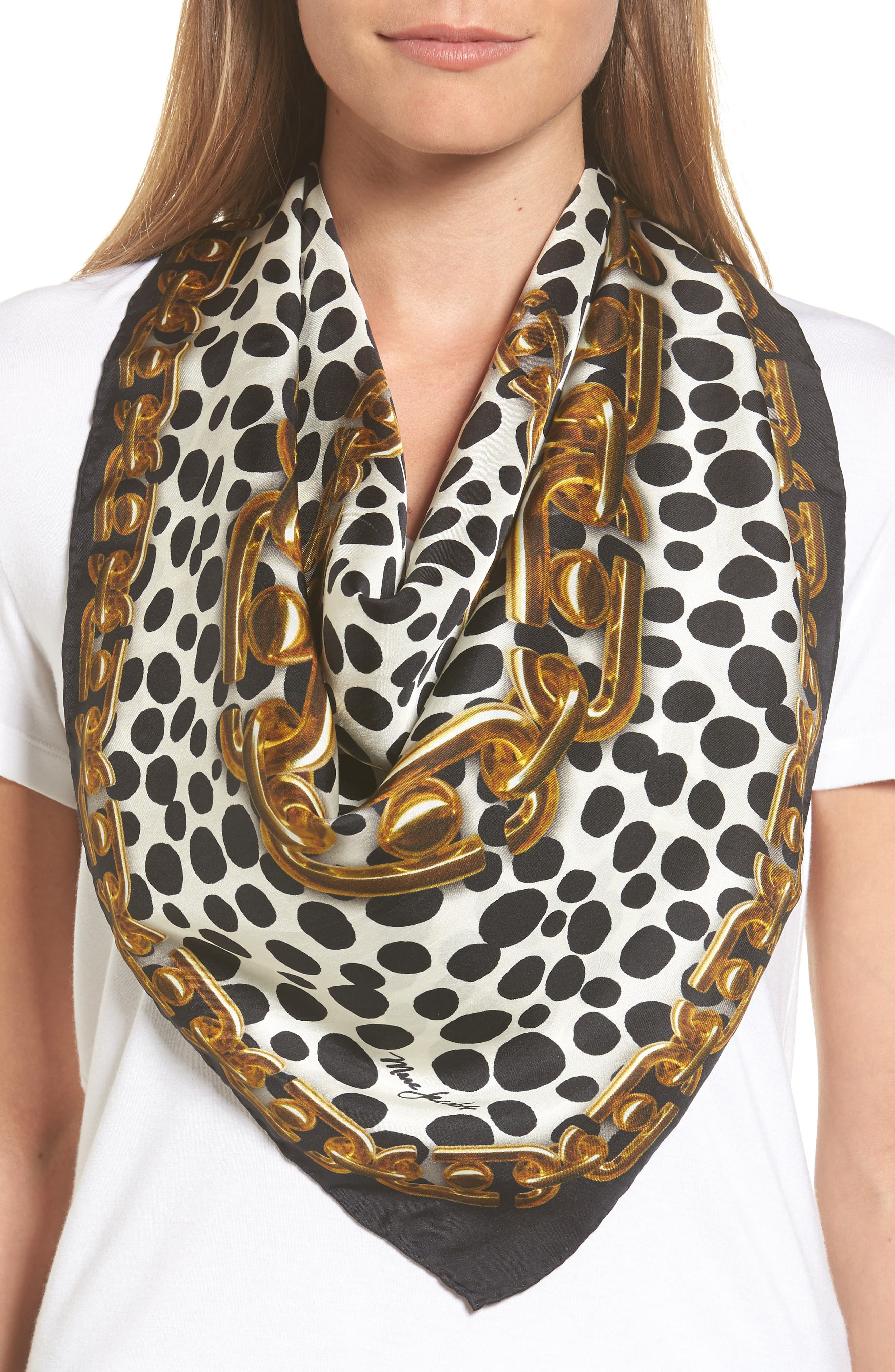 Animal & Chain Print Silk Scarf,                             Alternate thumbnail 2, color,
