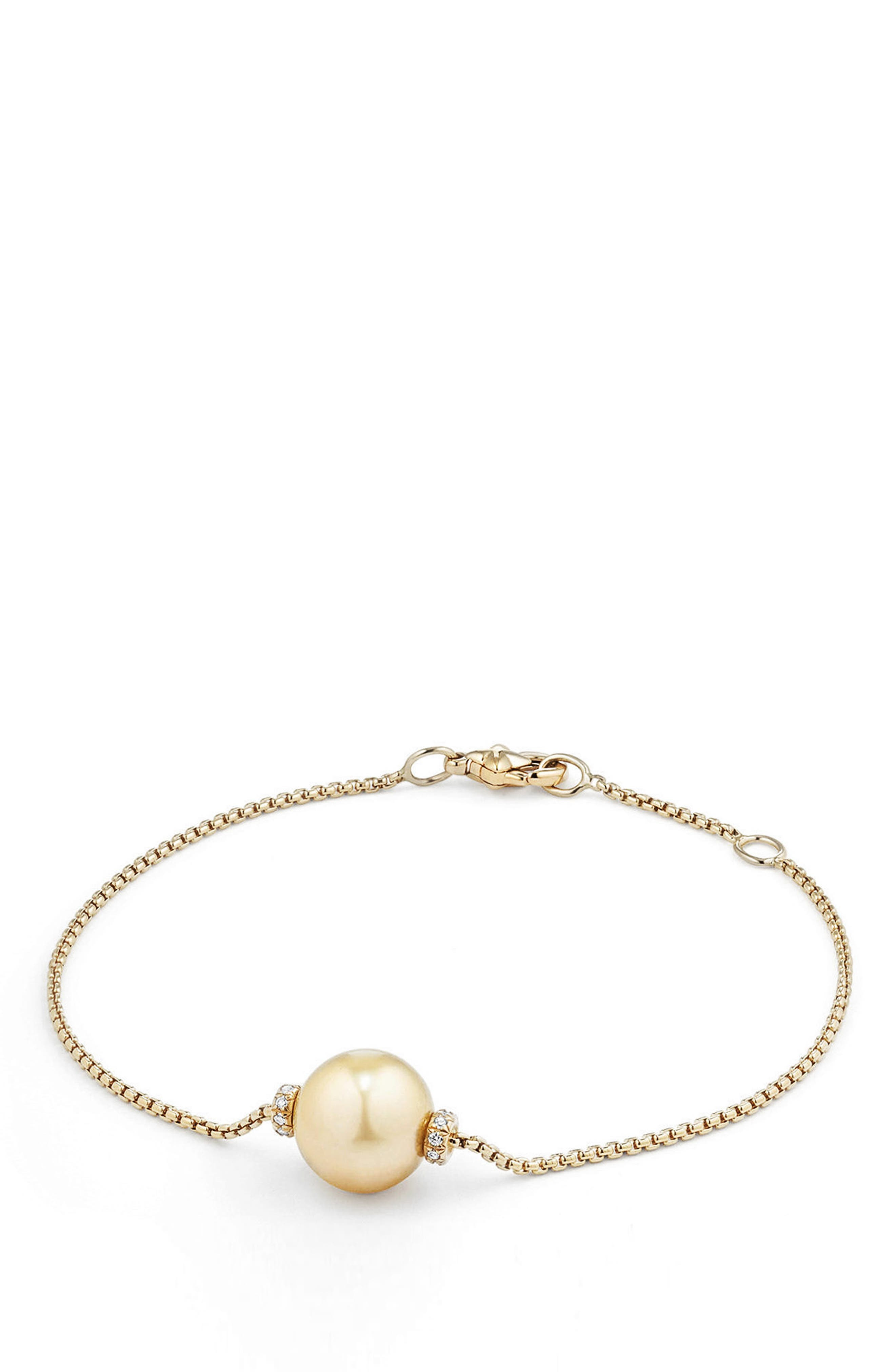 Solari Single Station Bracelet in 18k Gold with Diamonds & Pearl,                             Main thumbnail 1, color,                             YELLOW GOLD/ SOUTH SEA YELLOW
