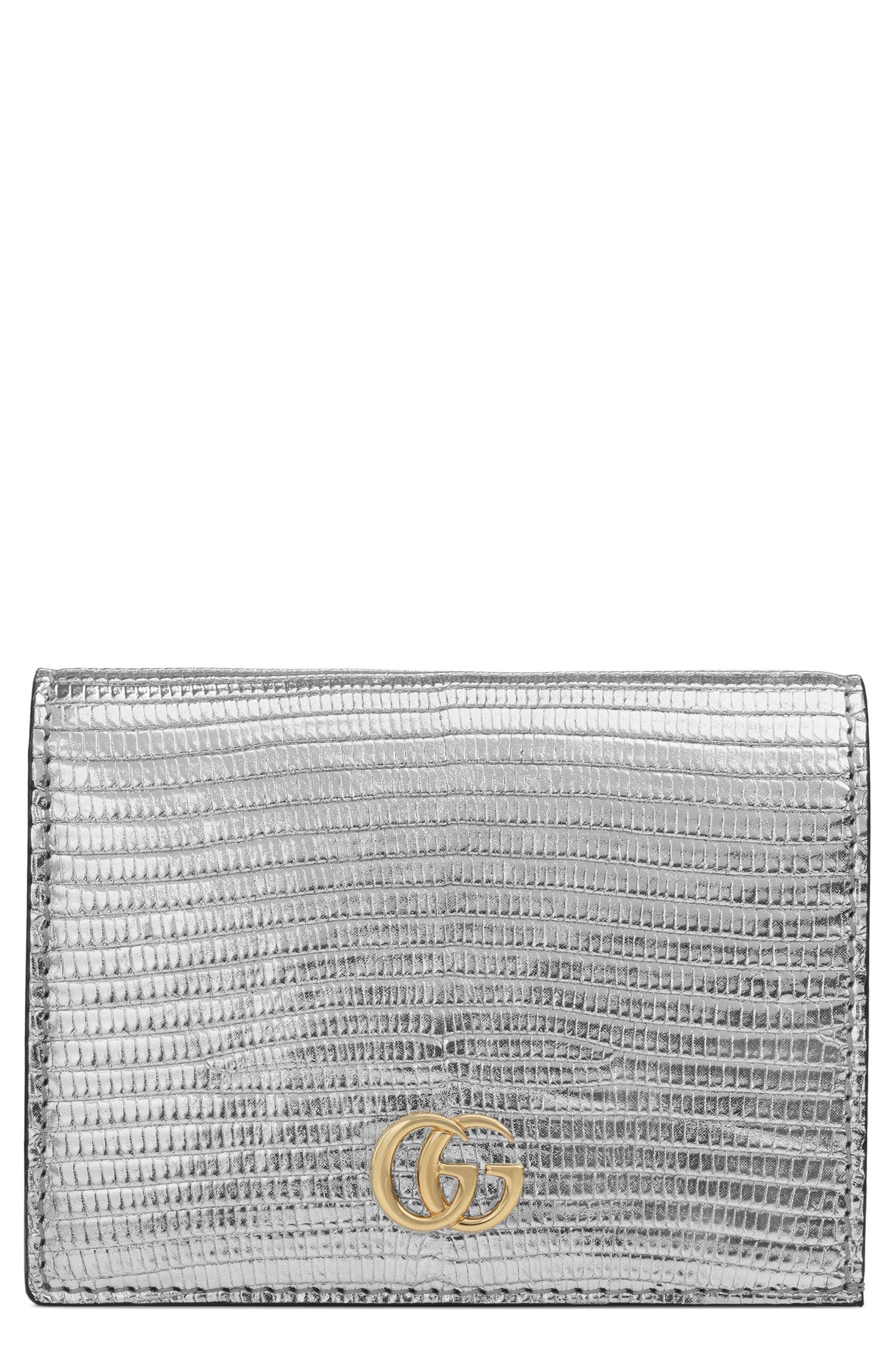 Petite Marmont Genuine Lizardskin Card Case,                         Main,                         color, ARGENTO