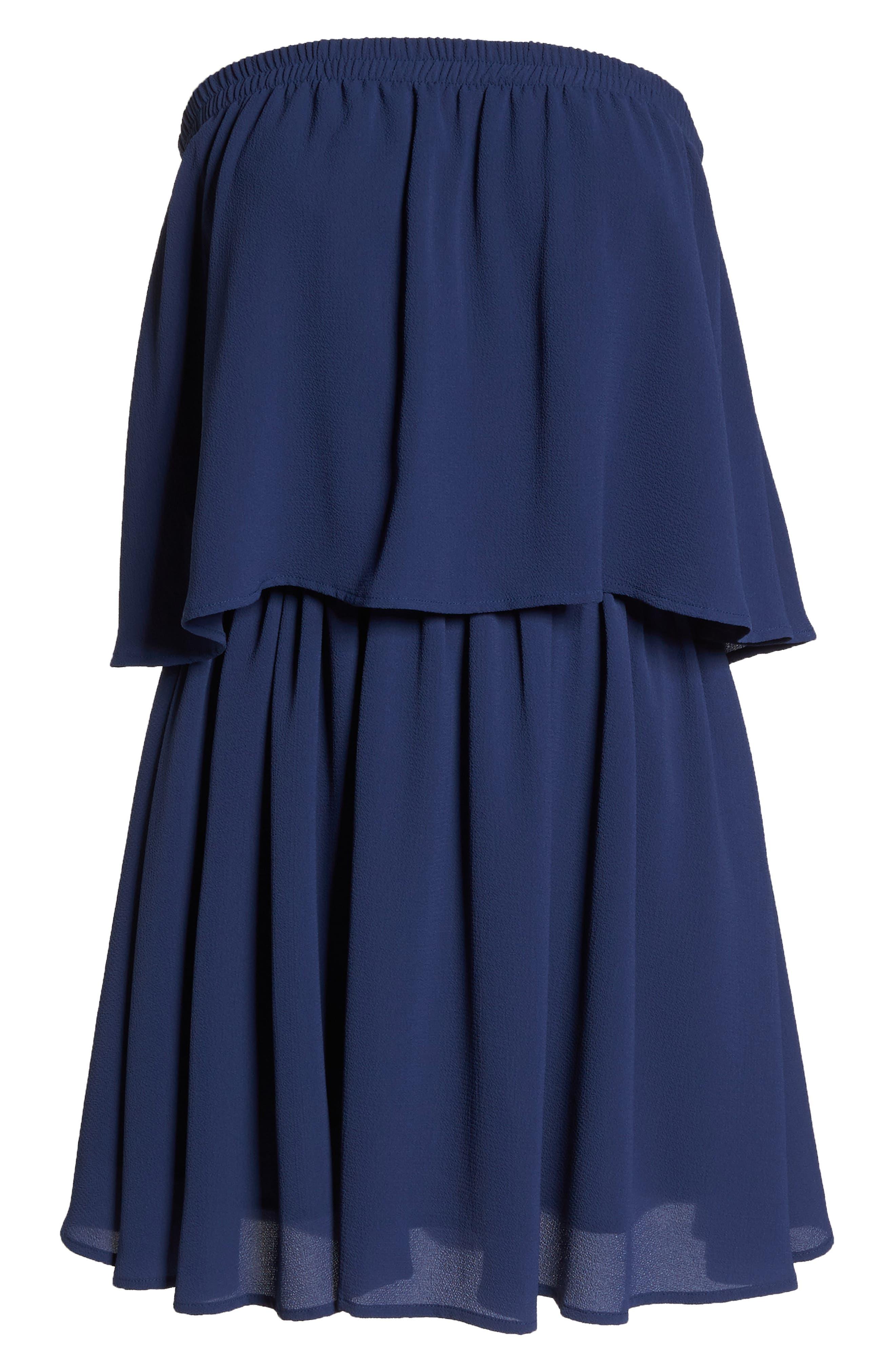 Strapless Popover Shift Dress,                             Alternate thumbnail 7, color,